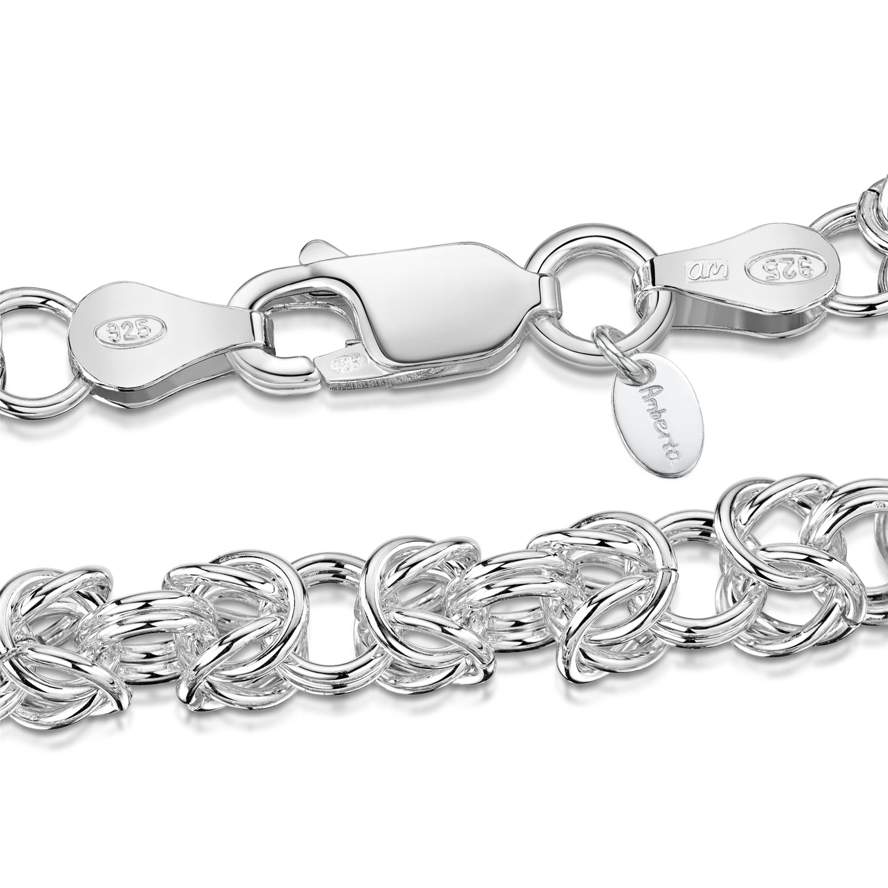 Amberta-Genuine-Real-925-Sterling-Silver-Chain-Bracelet-for-Women-from-Italy miniature 23