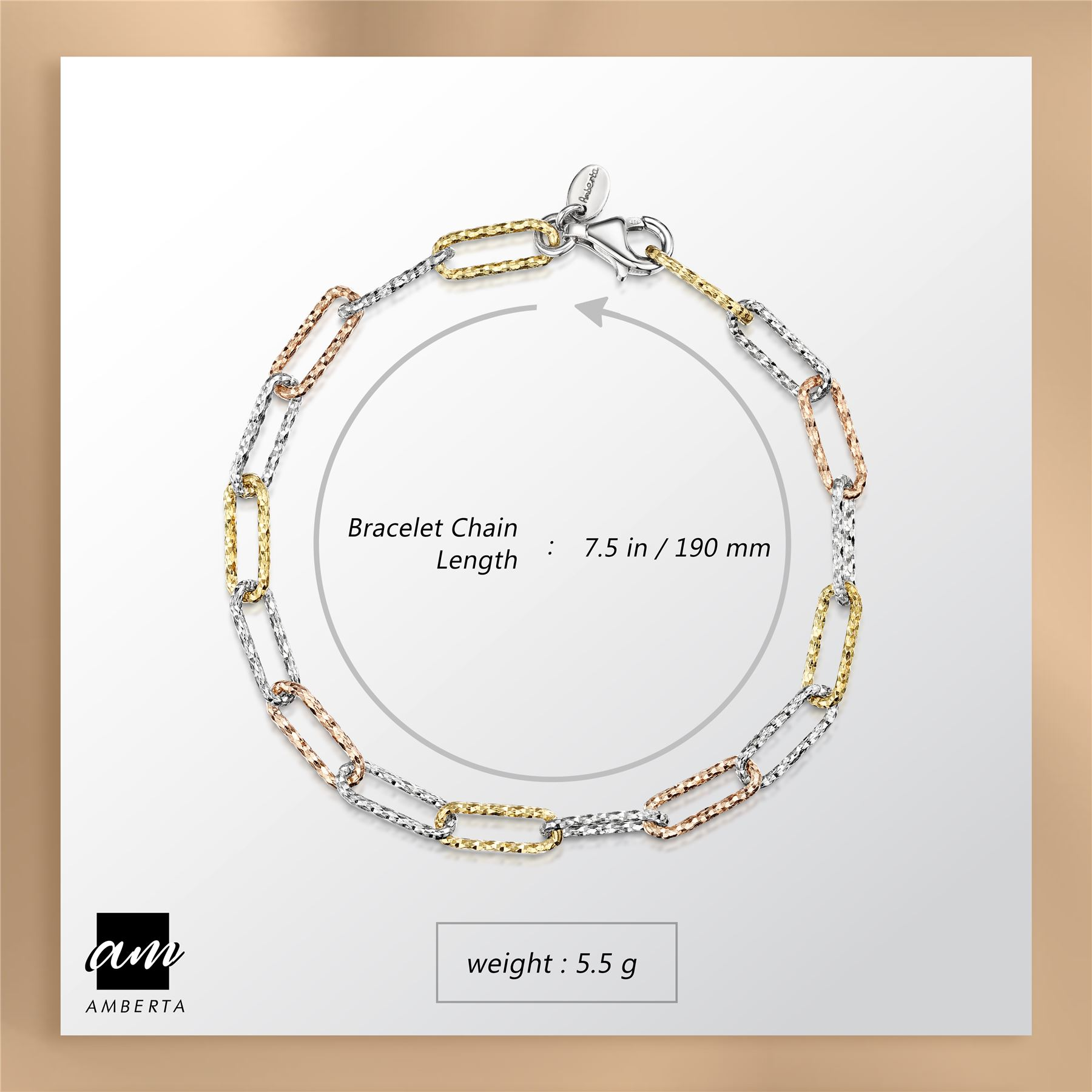 Amberta-Genuine-Real-925-Sterling-Silver-Chain-Bracelet-for-Women-from-Italy miniature 3