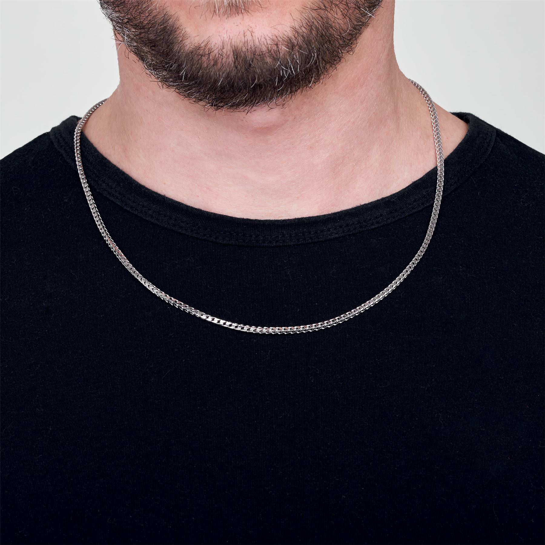 Amberta-925-Sterling-Silver-Link-Chain-Mens-Curb-Cuban-Necklace-ALL-SIZES-Italy thumbnail 9