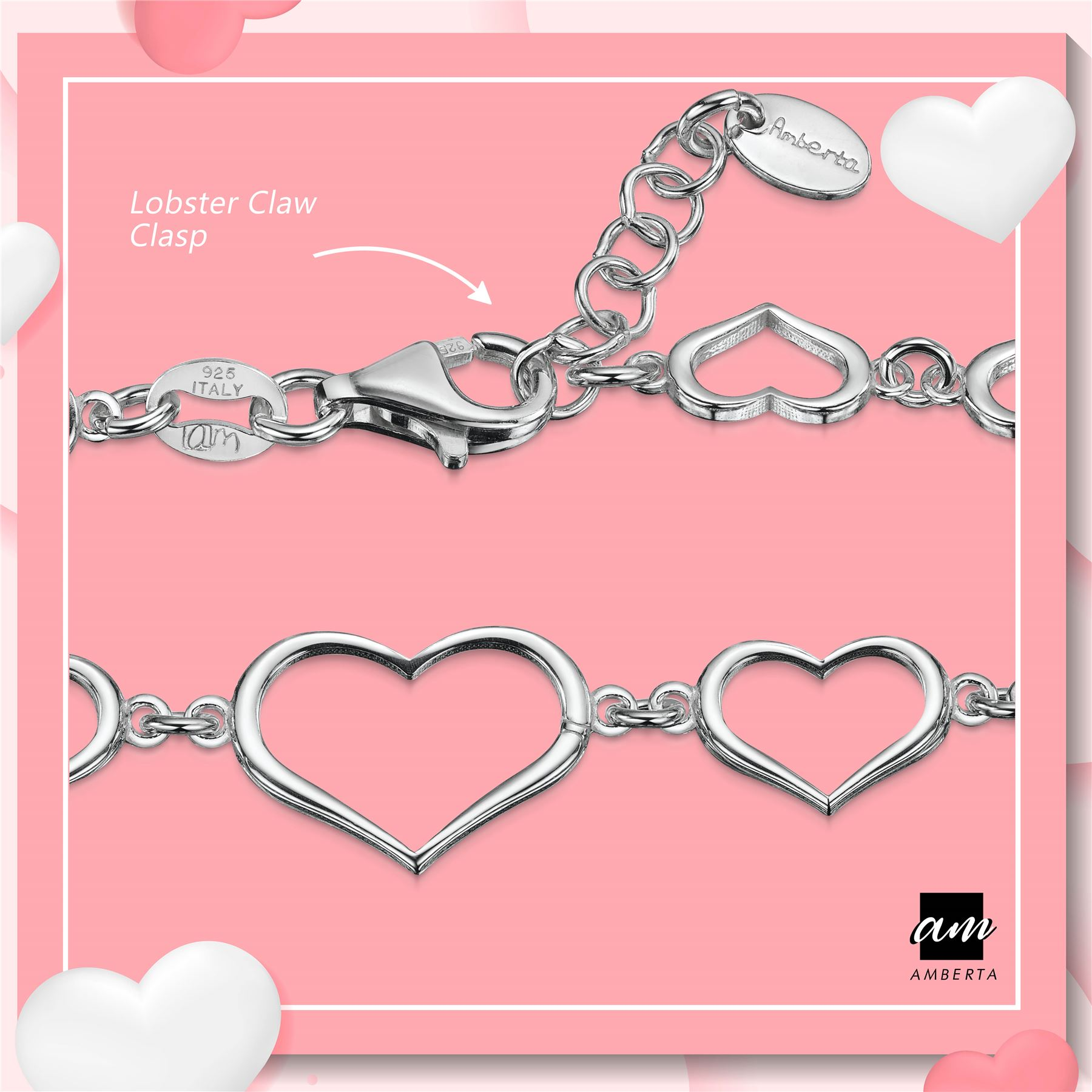 Amberta-925-Sterling-Silver-Adjustable-Rolo-Chain-Bracelet-with-Charms-for-Women miniature 18
