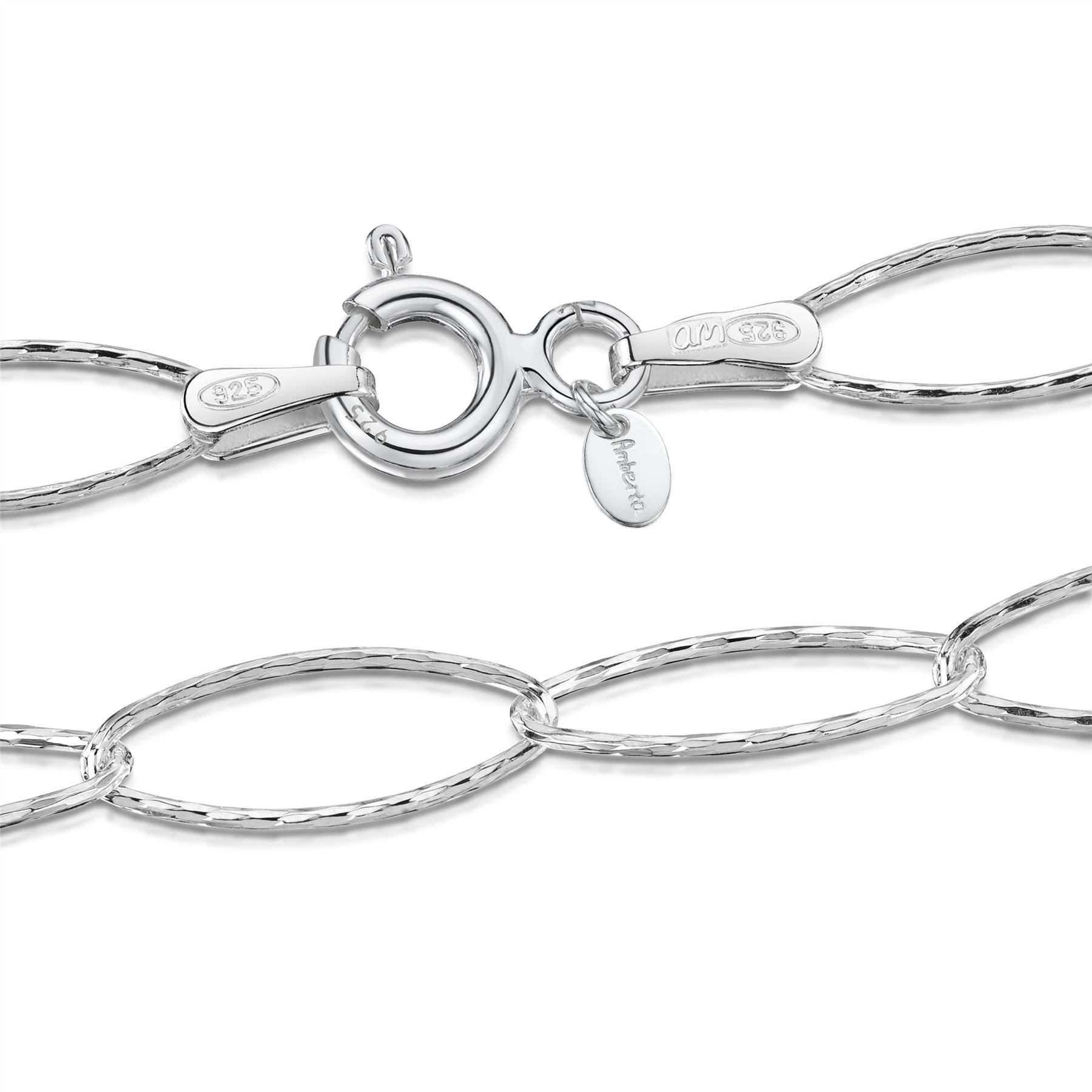 Amberta-Genuine-Real-925-Sterling-Silver-Bracelet-Bangle-Chain-Made-in-Italy thumbnail 109