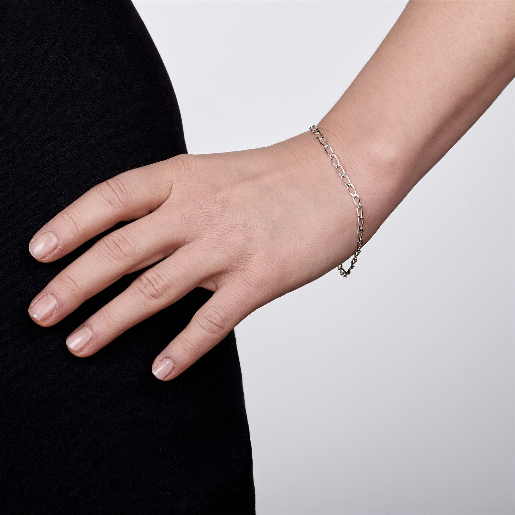 Amberta-Bijoux-Bracelet-en-Vrai-Argent-Sterling-925-Chaine-pour-Femme-a-la-Mode thumbnail 78
