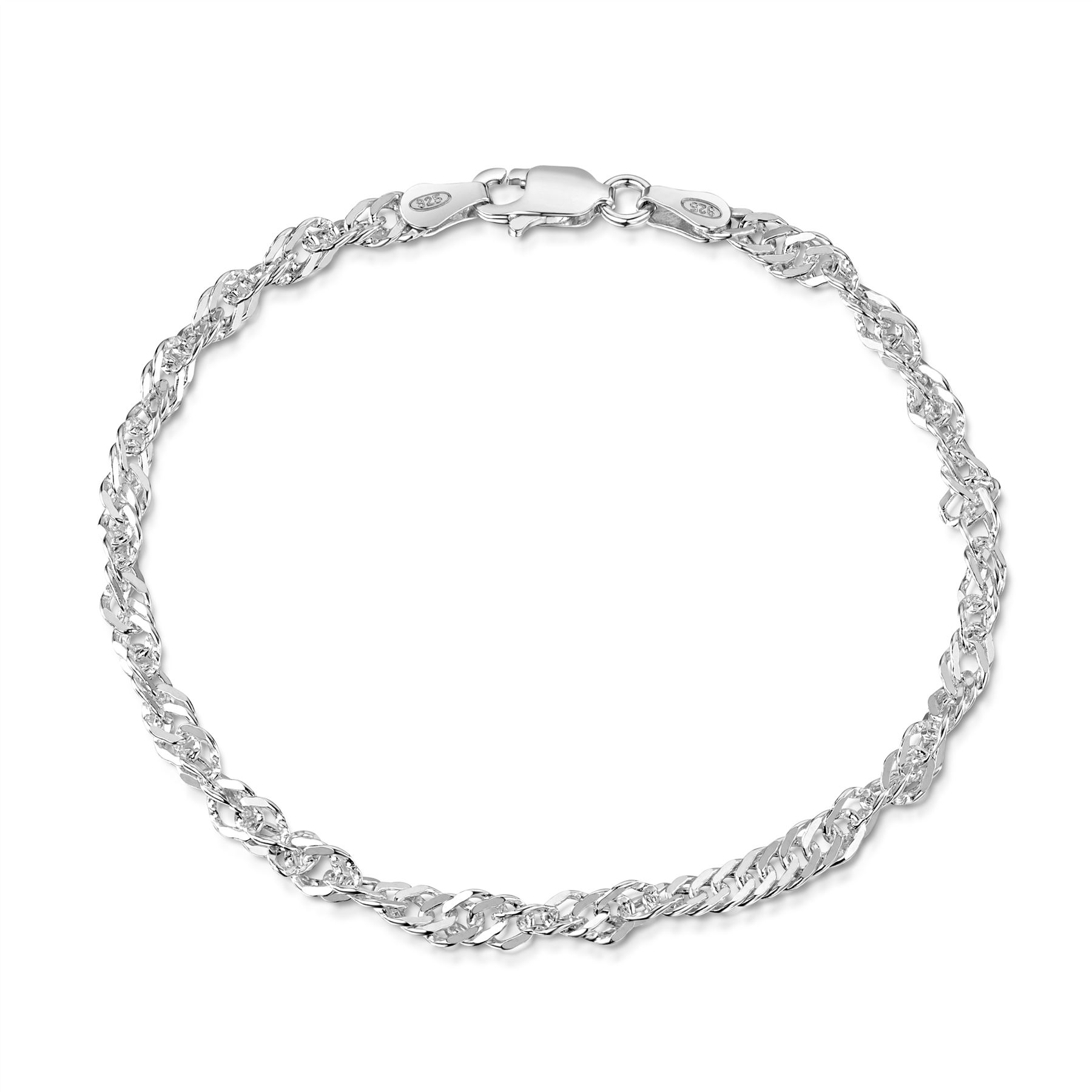 Amberta-Jewelry-Genuine-925-Sterling-Silver-Bracelet-Bangle-Chain-Made-in-Italy thumbnail 87