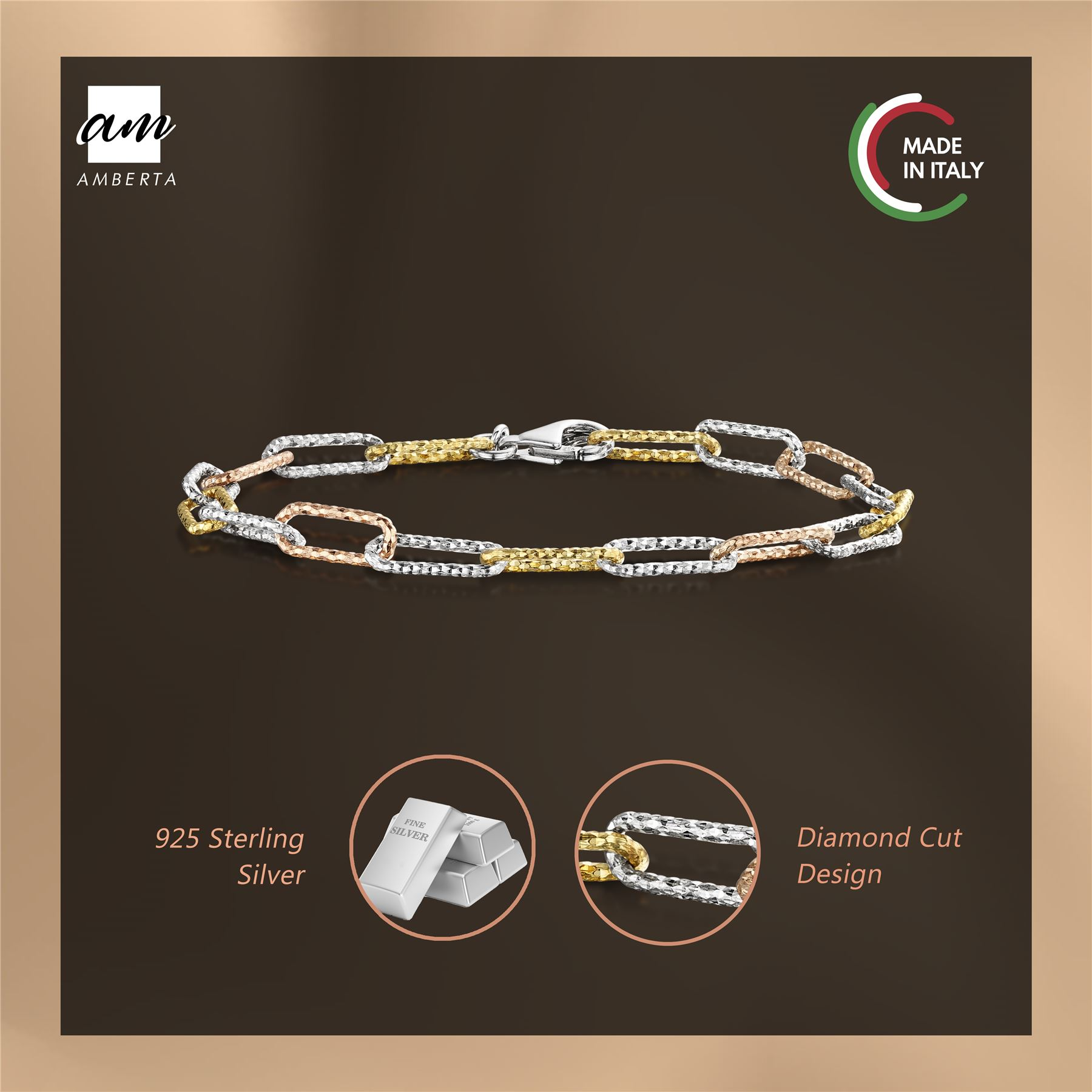 Amberta-Genuine-Real-925-Sterling-Silver-Chain-Bracelet-for-Women-from-Italy miniature 5
