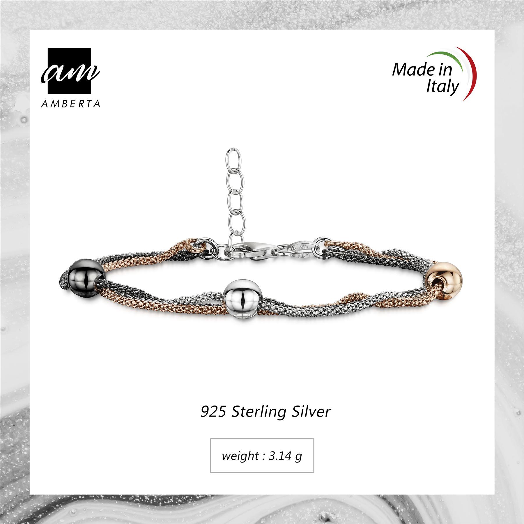 Amberta-925-Sterling-Silver-Adjustable-Multi-Layered-Chain-Bracelet-for-Women miniature 5
