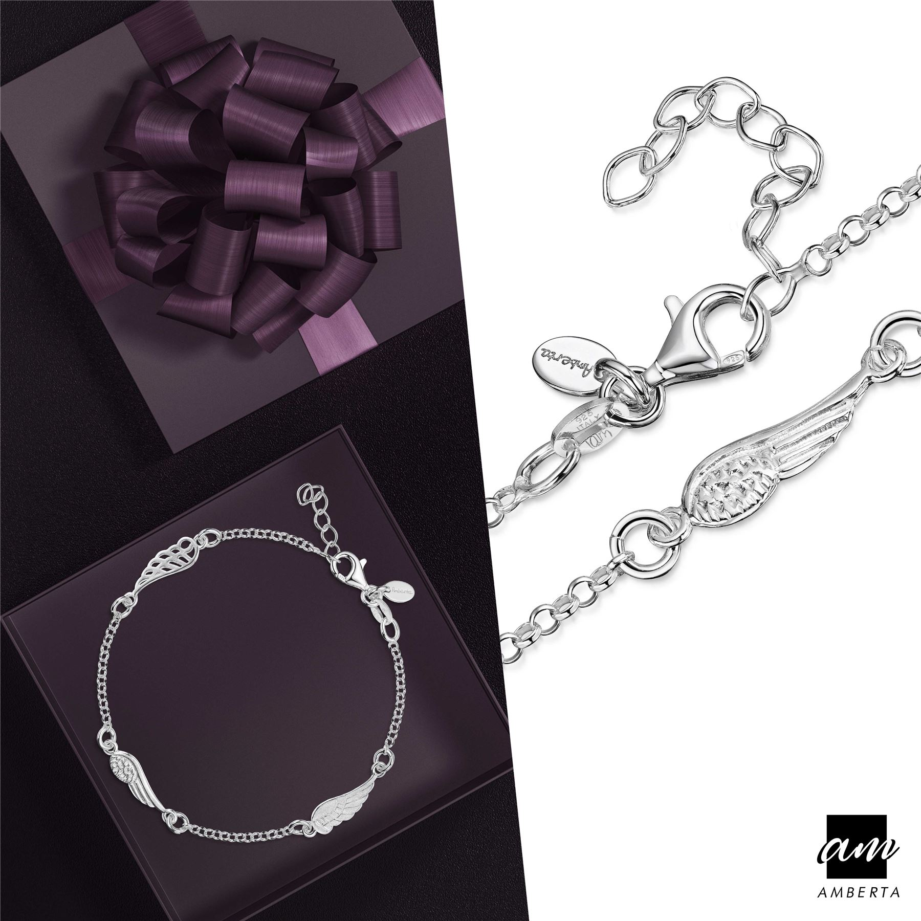 Amberta-925-Sterling-Silver-Adjustable-Rolo-Chain-Bracelet-with-Charms-for-Women miniature 7