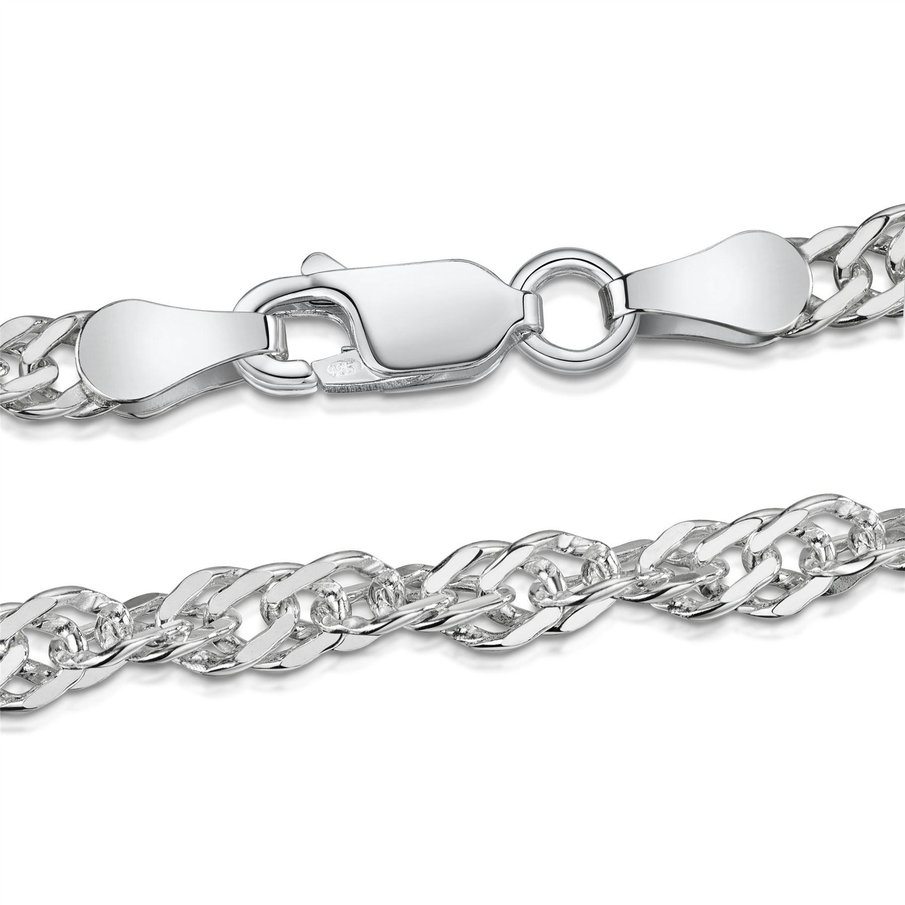 Amberta-Bijoux-Bracelet-en-Vrai-Argent-Sterling-925-Chaine-pour-Femme-a-la-Mode thumbnail 86