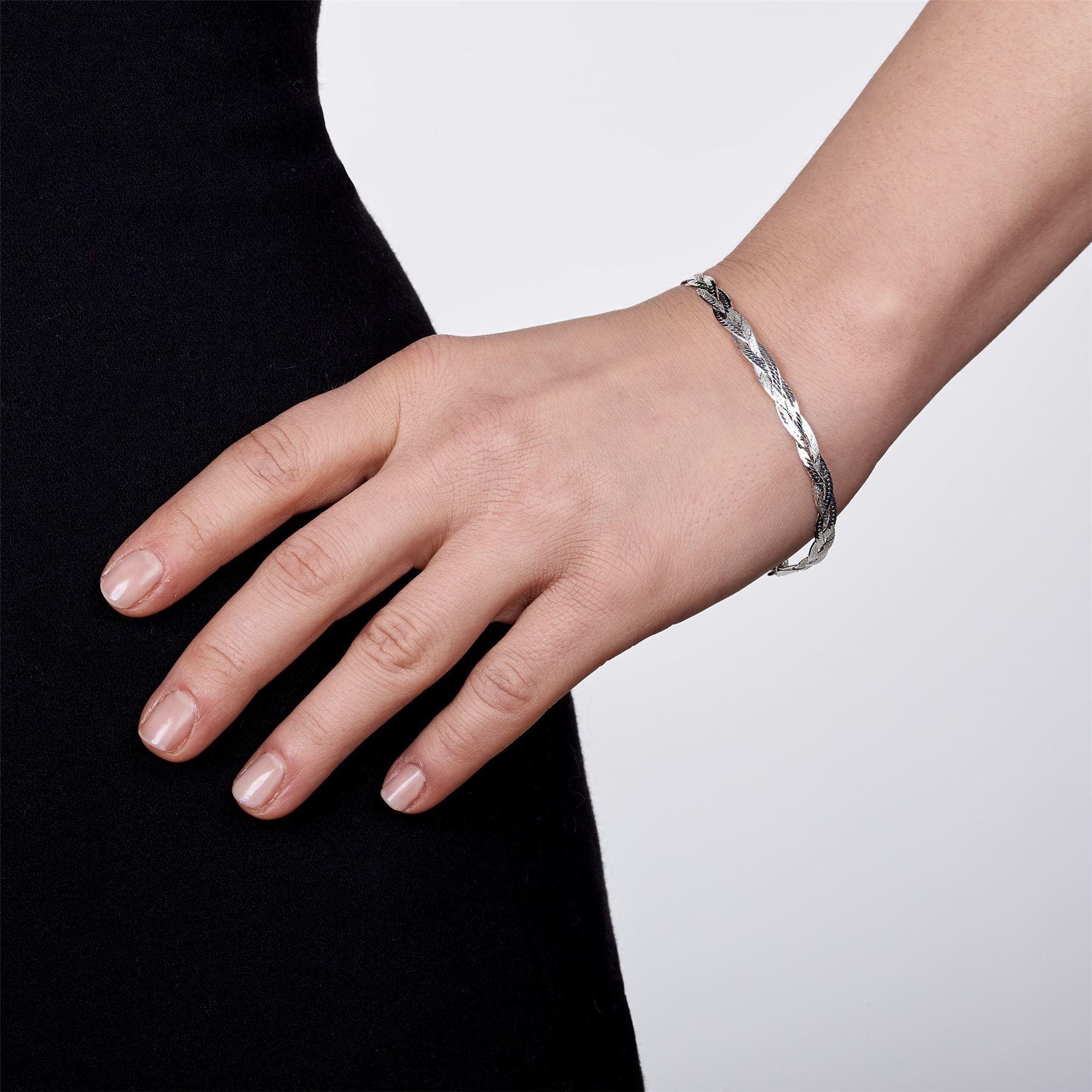 Amberta-Bijoux-Bracelet-en-Vrai-Argent-Sterling-925-Chaine-pour-Femme-a-la-Mode thumbnail 98