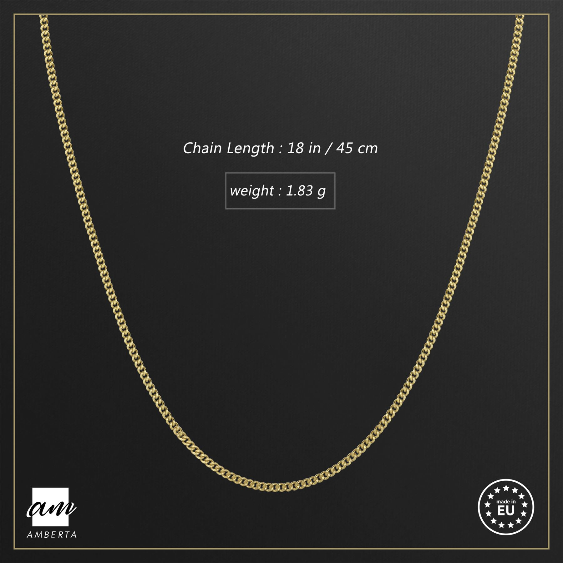 Amberta-Genuine-Gold-Plated-on-Real-925-Sterling-Silver-Necklace-Chain-Italy 縮圖 11