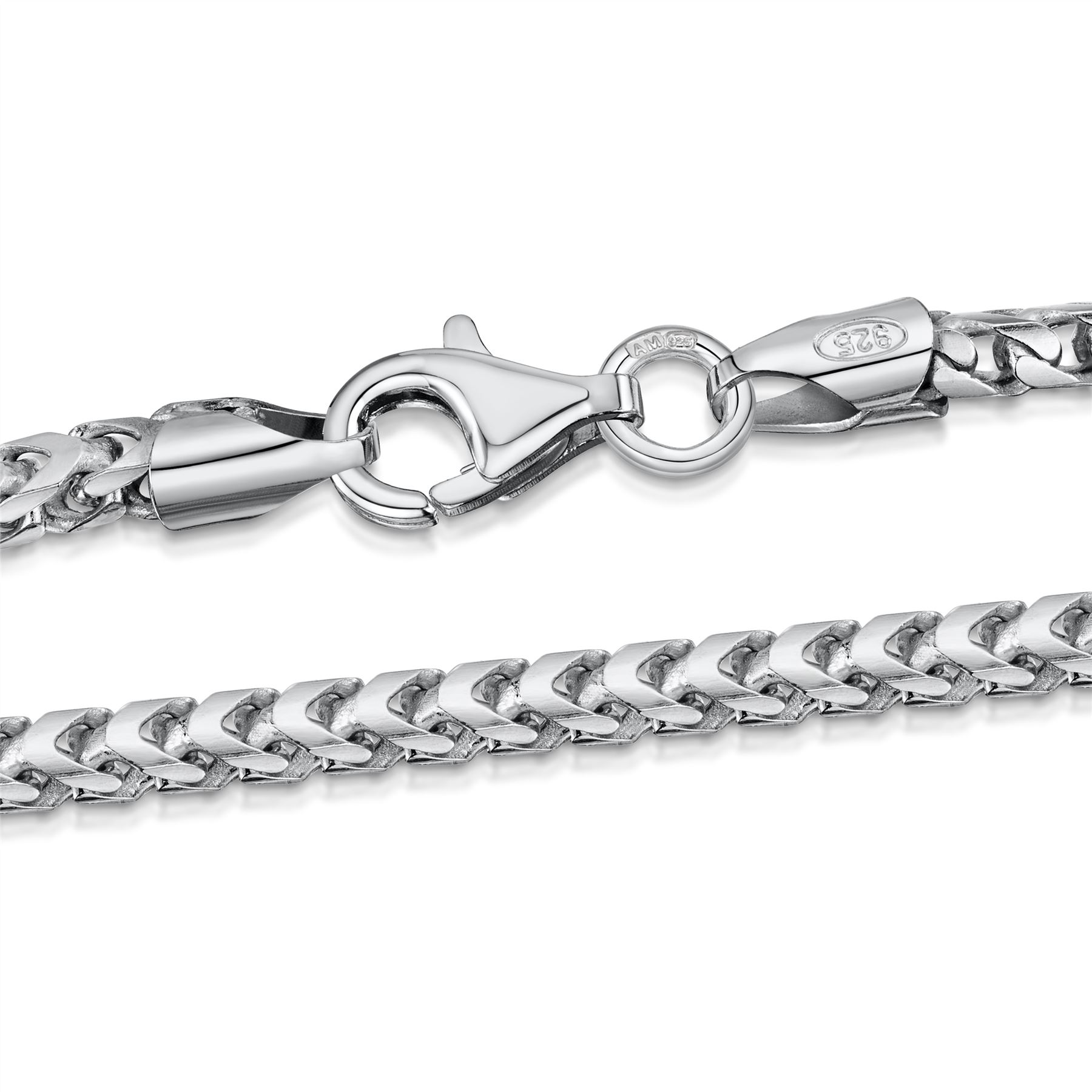 Amberta-925-Sterling-Silver-Link-Chain-Mens-Curb-Cuban-Necklace-ALL-SIZES-Italy thumbnail 7