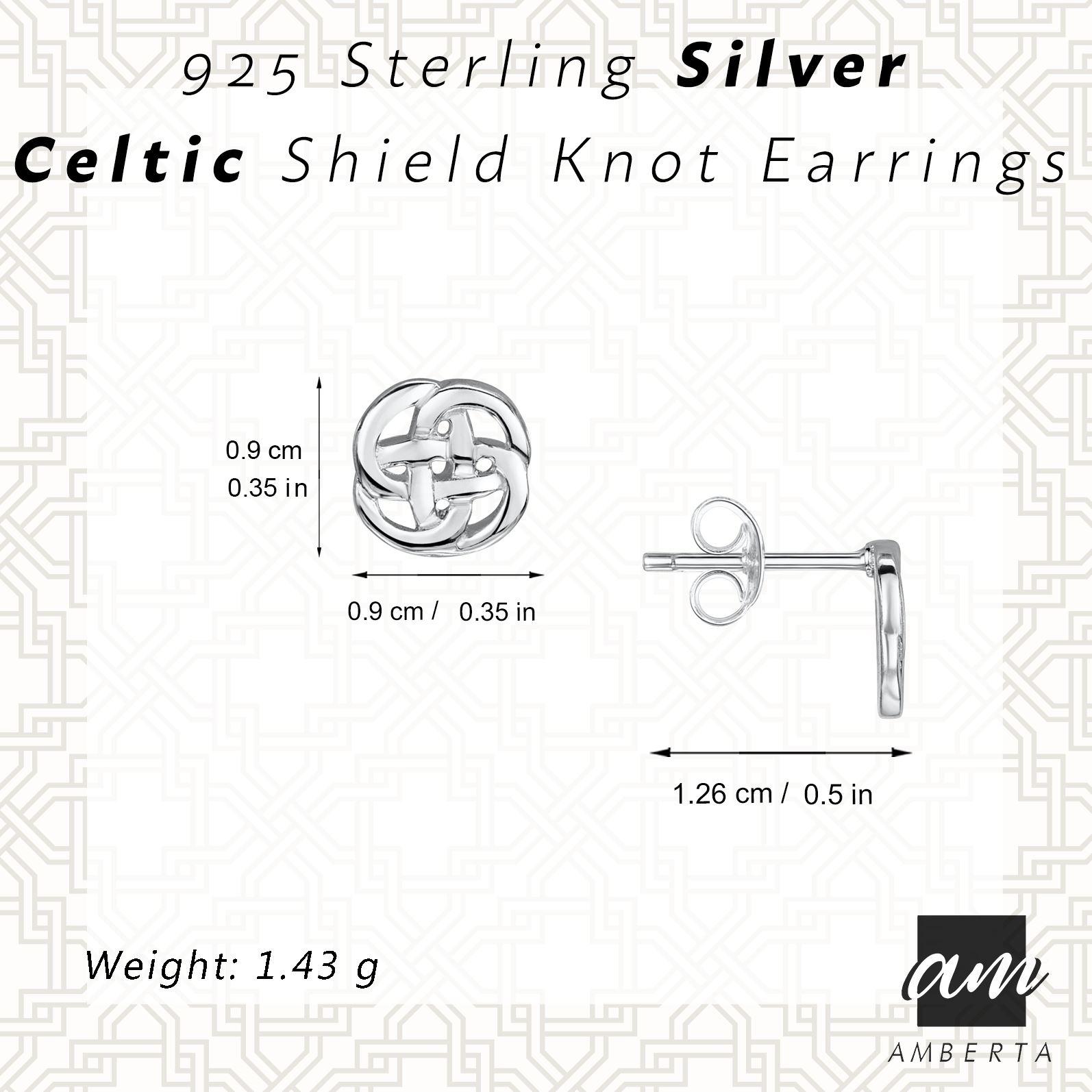 Amberta-925-Sterling-Silver-Celtic-Knot-Earrings-for-Women-Irish-Design miniature 3