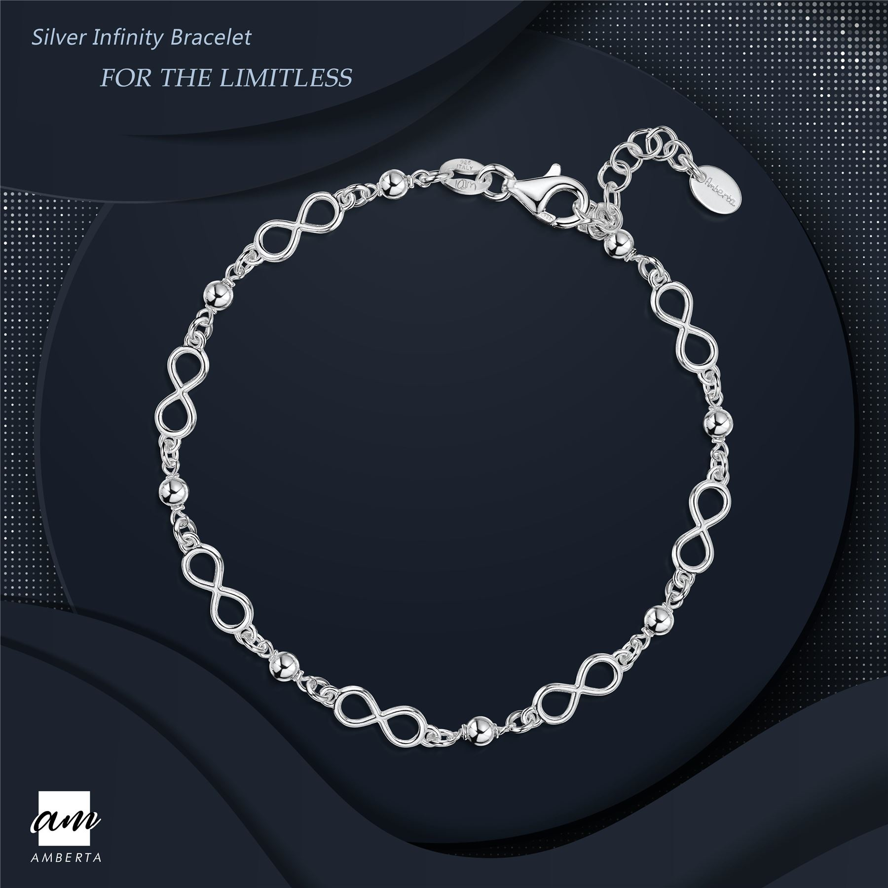 Amberta-925-Sterling-Silver-Adjustable-Rolo-Chain-Bracelet-with-Charms-for-Women miniature 13