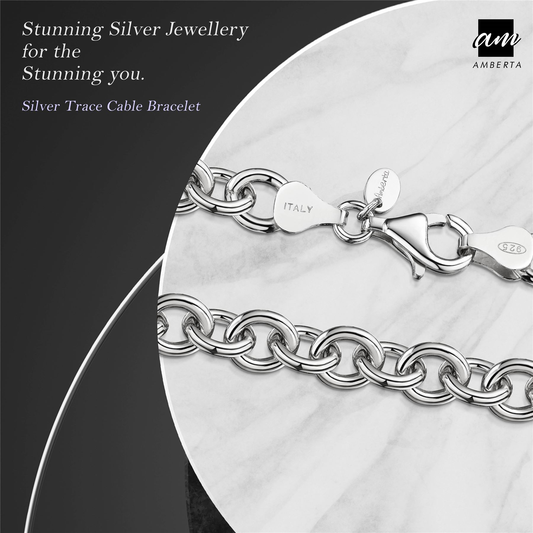 Amberta-Genuine-Real-925-Sterling-Silver-Chain-Bracelet-for-Women-from-Italy miniature 38