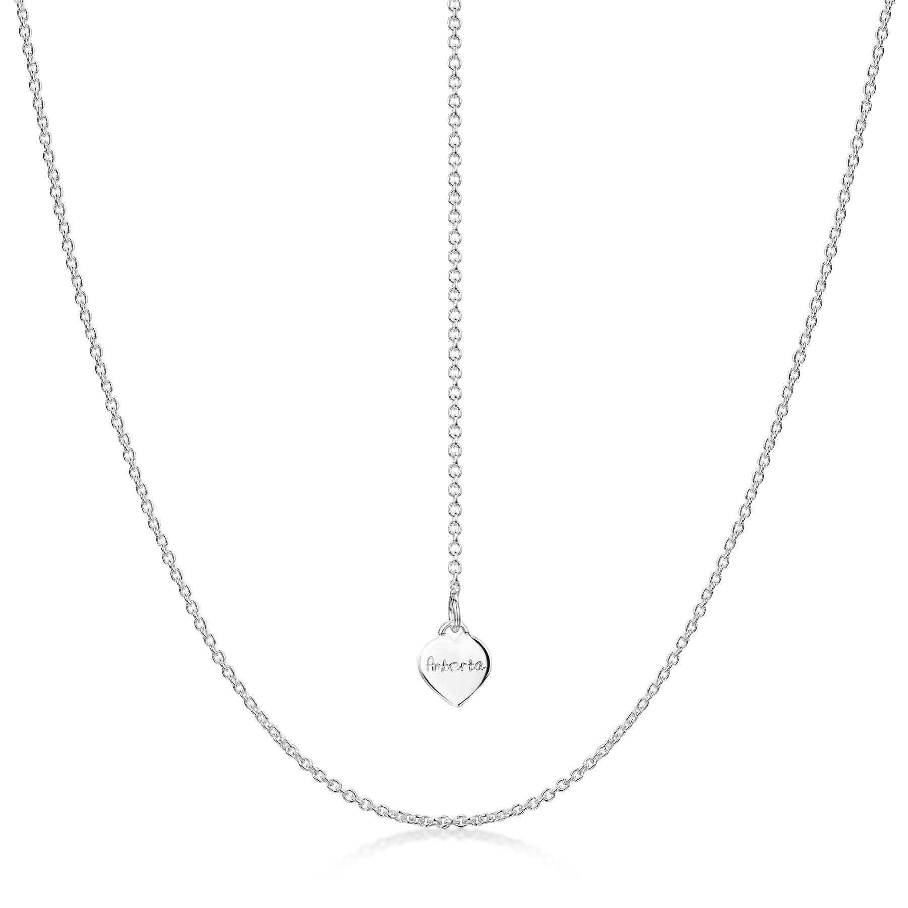 Amberta-Collar-en-Fina-Plata-de-Ley-925-Cadena-de-Corazon-Ajustable-para-Mujer miniatura 3