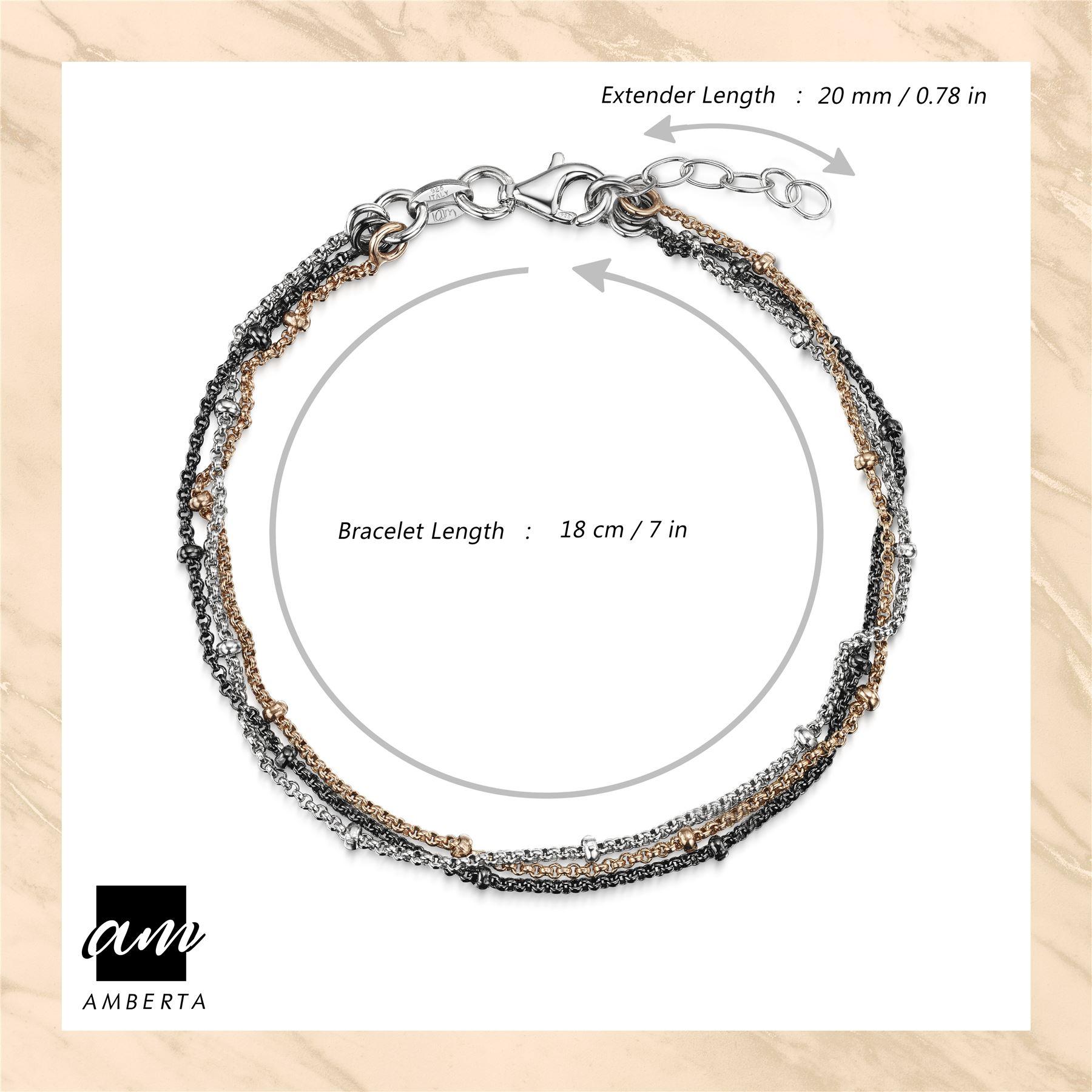 Amberta-925-Sterling-Silver-Adjustable-Multi-Layered-Chain-Bracelet-for-Women miniature 13