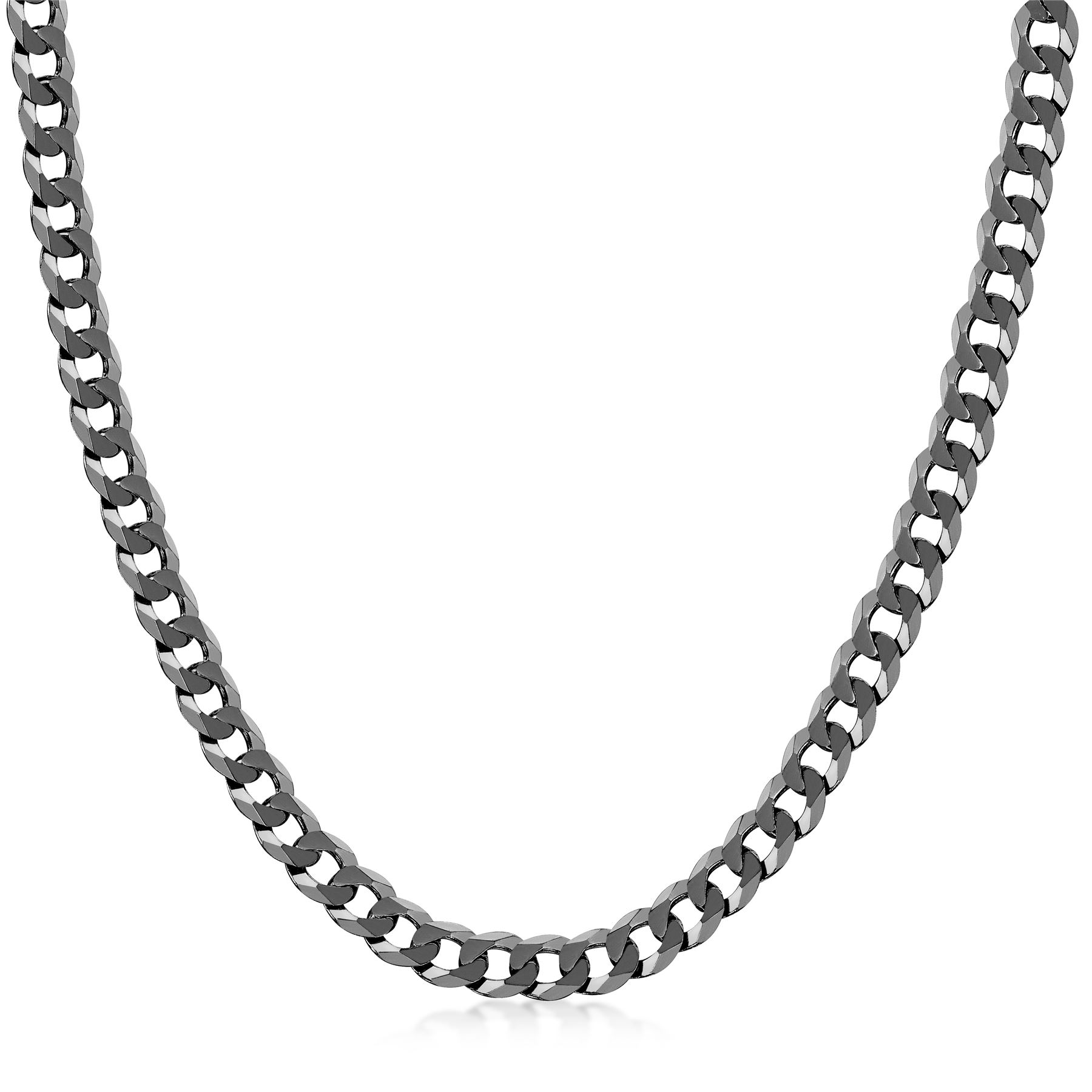 Amberta-925-Sterling-Silver-Link-Chain-Mens-Curb-Cuban-Necklace-ALL-SIZES-Italy thumbnail 49