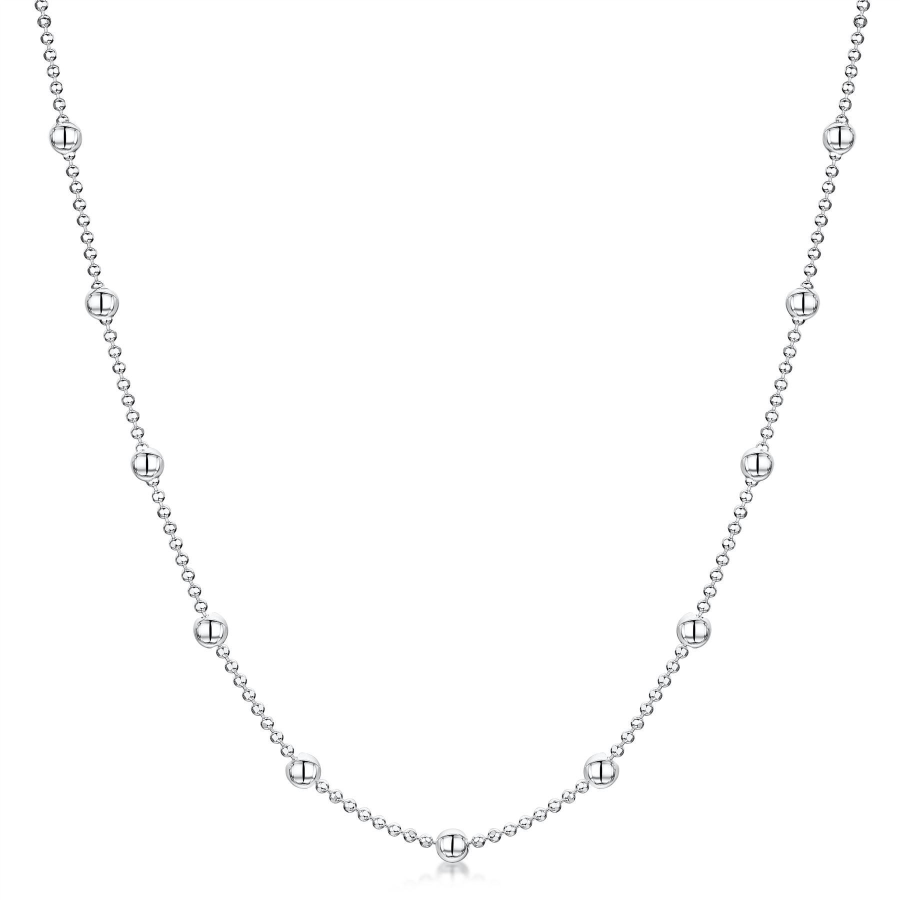 Amberta-Jewelry-Genuine-925-Sterling-Silver-Italian-Bead-Necklace-Ball-Chain thumbnail 13