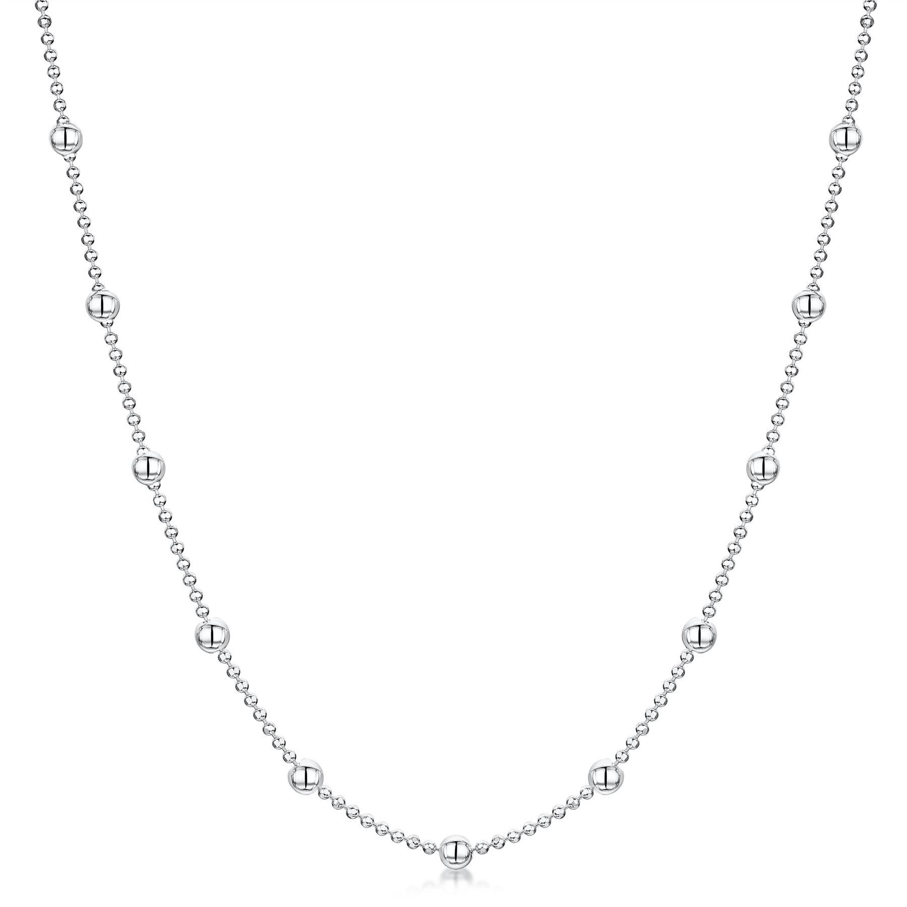 Amberta-Collar-en-Autentica-Plata-De-Ley-925-Cadena-de-Bola-Elegante-para-Mujer miniatura 3