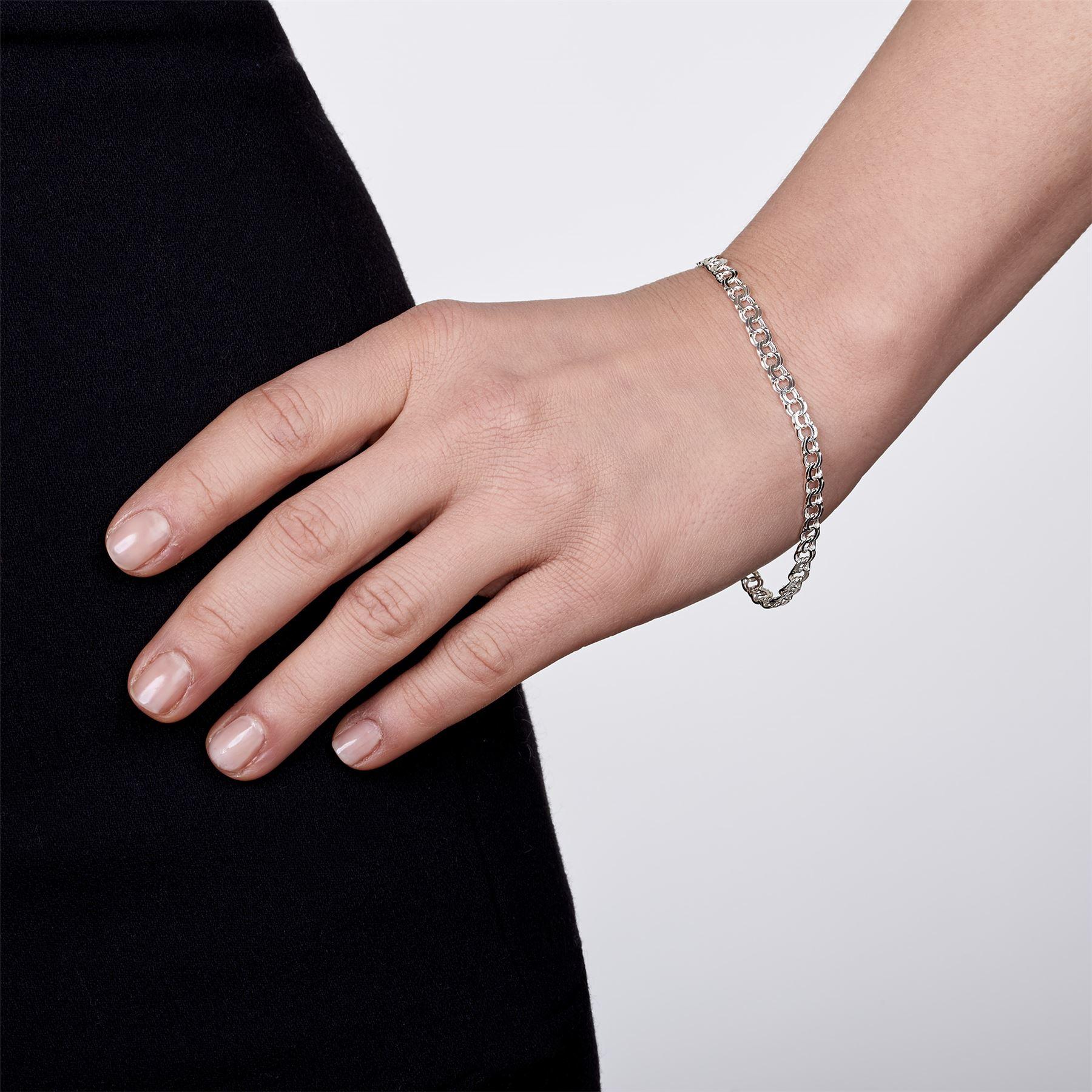 Amberta-Bijoux-Bracelet-en-Vrai-Argent-Sterling-925-Chaine-pour-Femme-a-la-Mode thumbnail 96
