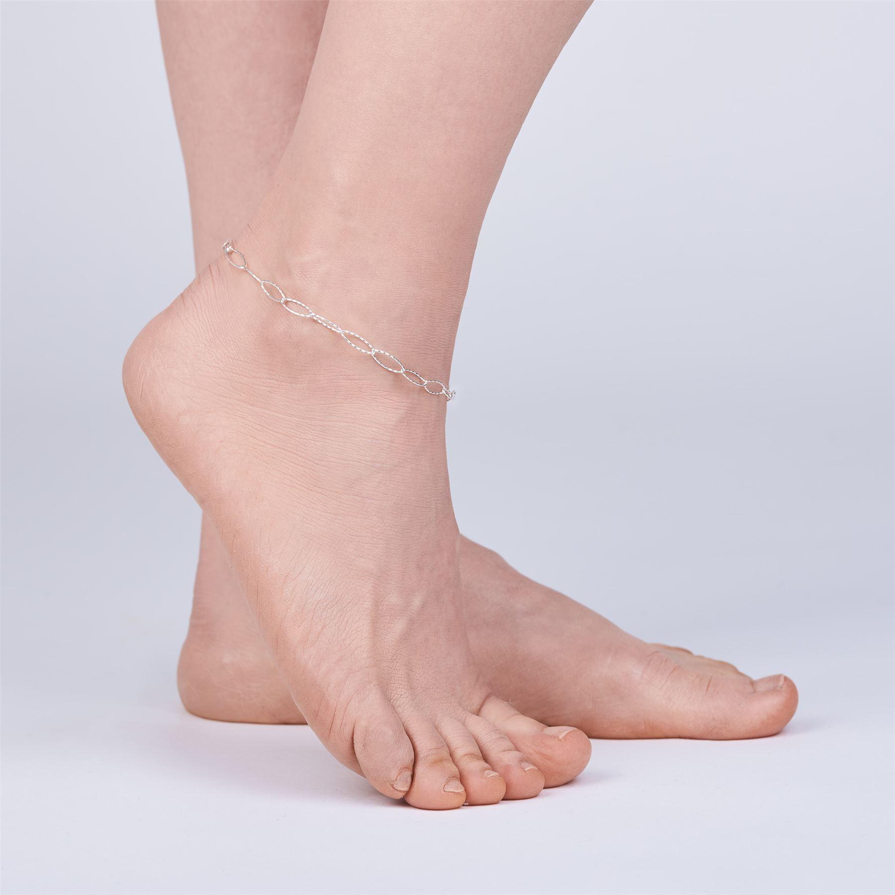 Amberta-Jewelry-925-Sterling-Silver-Adjustable-Anklet-Foot-Bracelet-for-Women miniature 54
