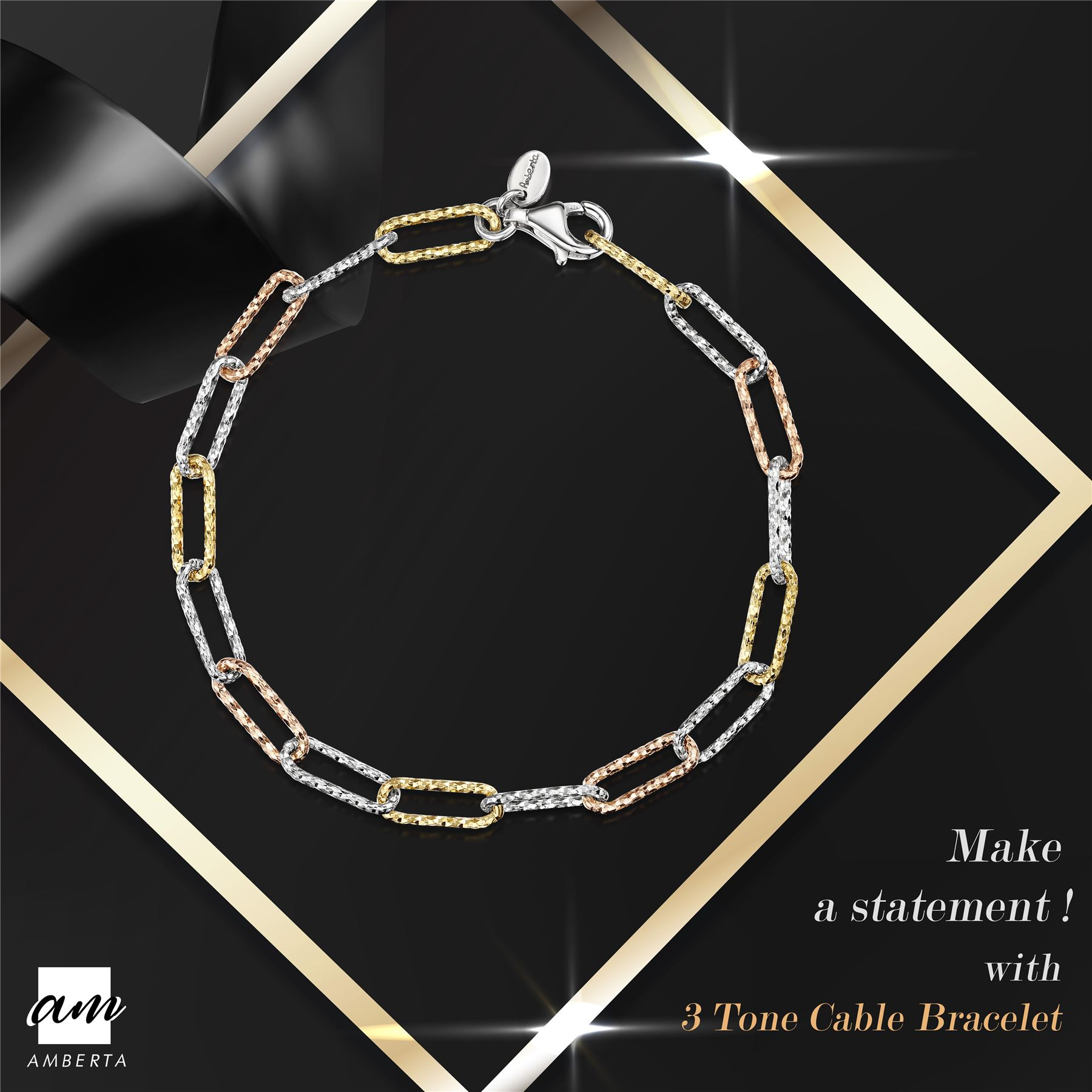 Amberta-Genuine-Real-925-Sterling-Silver-Chain-Bracelet-for-Women-from-Italy miniature 6