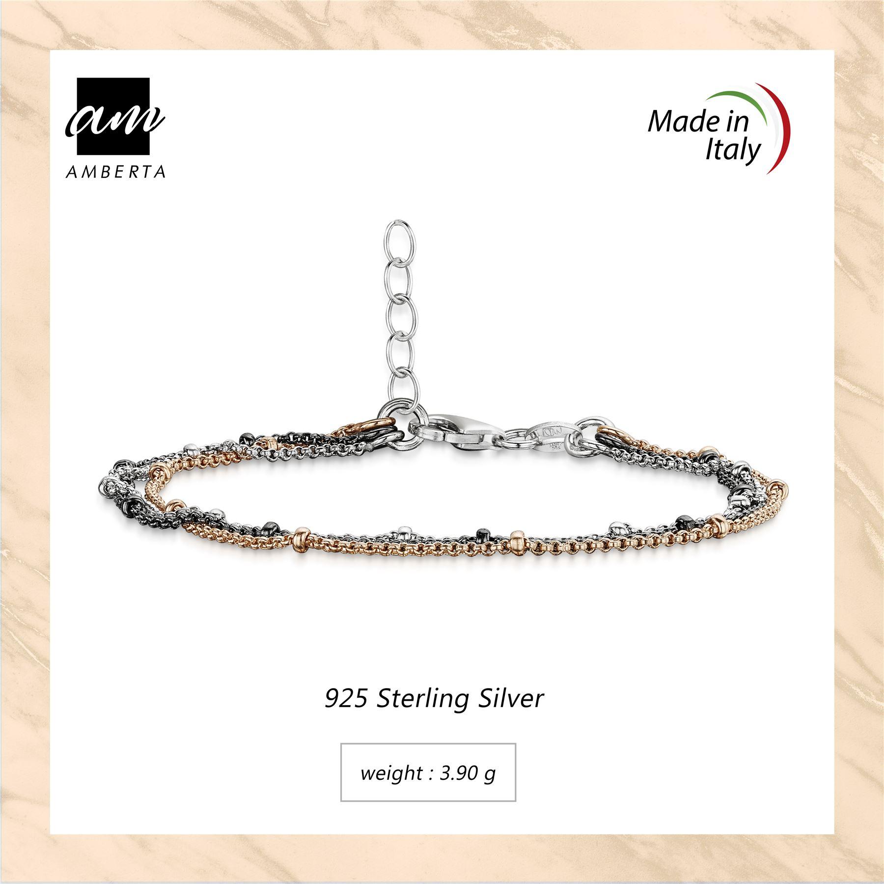 Amberta-925-Sterling-Silver-Adjustable-Multi-Layered-Chain-Bracelet-for-Women miniature 15