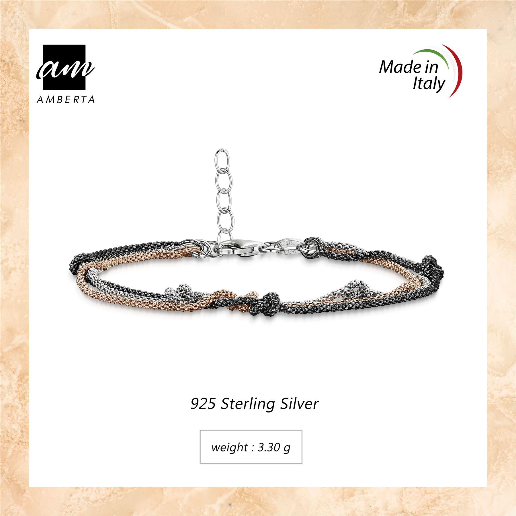 Amberta-925-Sterling-Silver-Adjustable-Multi-Layered-Chain-Bracelet-for-Women miniature 10