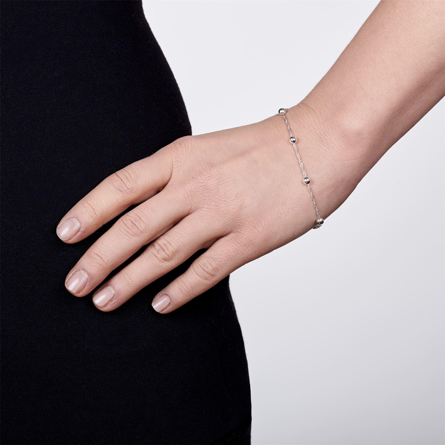 Amberta-Bijoux-Bracelet-en-Vrai-Argent-Sterling-925-Chaine-pour-Femme-a-la-Mode thumbnail 20