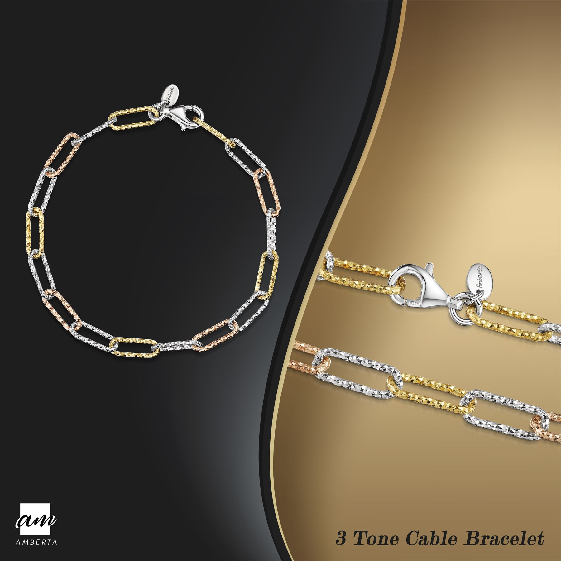 Amberta-Genuine-Real-925-Sterling-Silver-Chain-Bracelet-for-Women-from-Italy miniature 7
