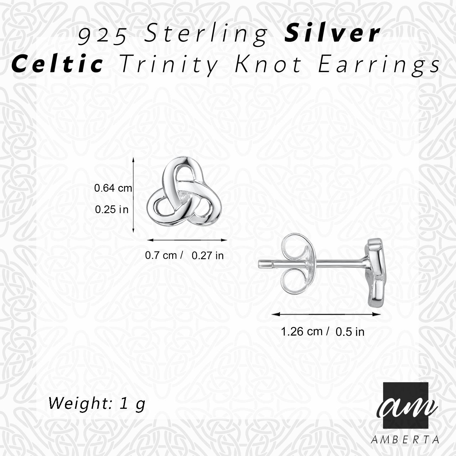 Amberta-925-Sterling-Silver-Celtic-Knot-Earrings-for-Women-Irish-Design miniature 33