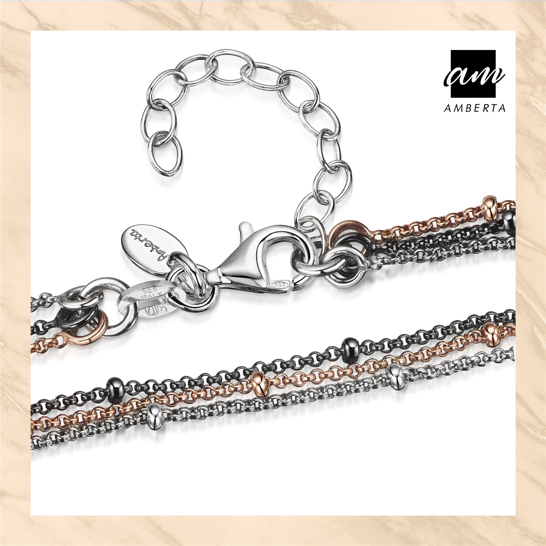 Amberta-925-Sterling-Silver-Adjustable-Multi-Layered-Chain-Bracelet-for-Women miniature 14