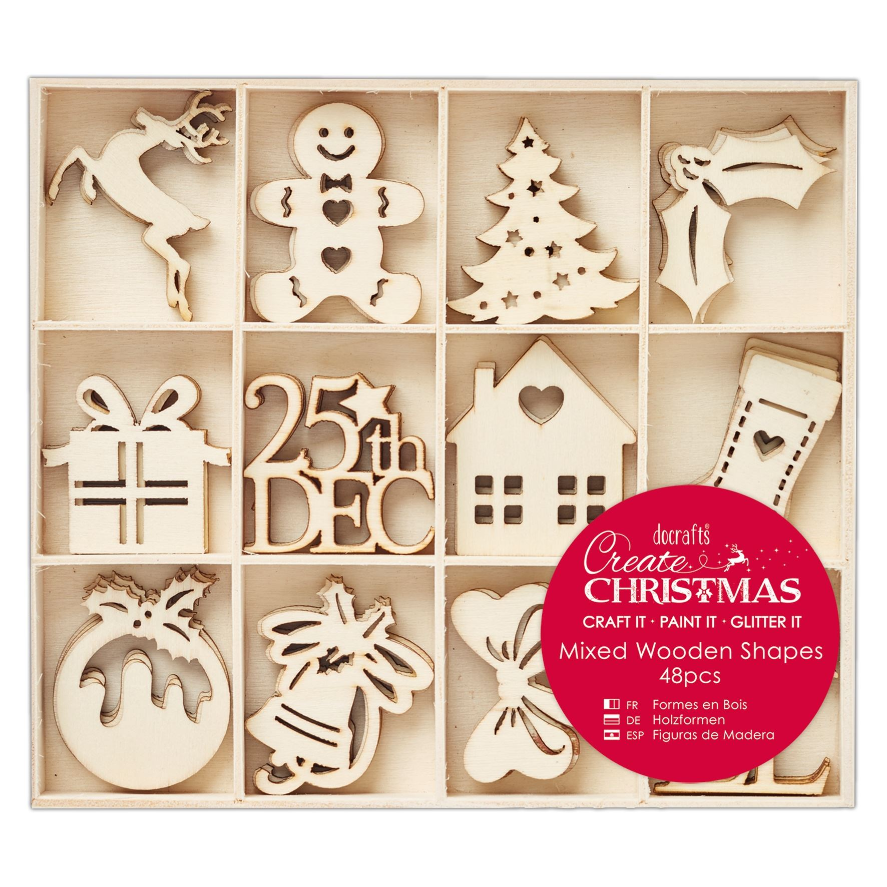 Image is loading Docrafts-Create-Christmas-Wooden-Decorations -Snowflakes-Tree-Reindeer-