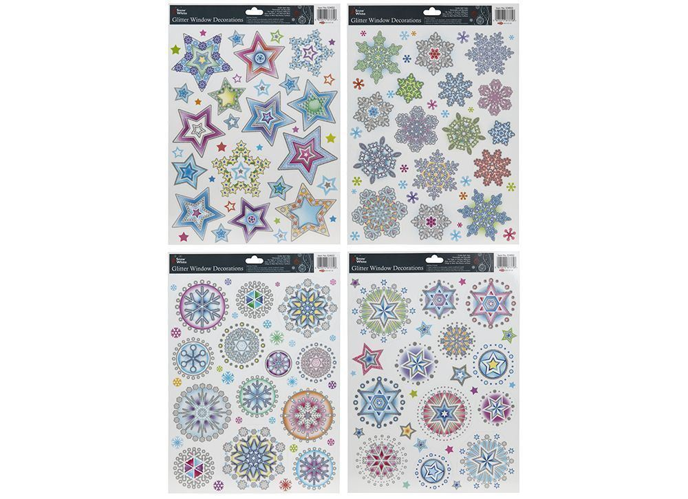 Snow white glitter snowflakes window stickers assorted designs christmas