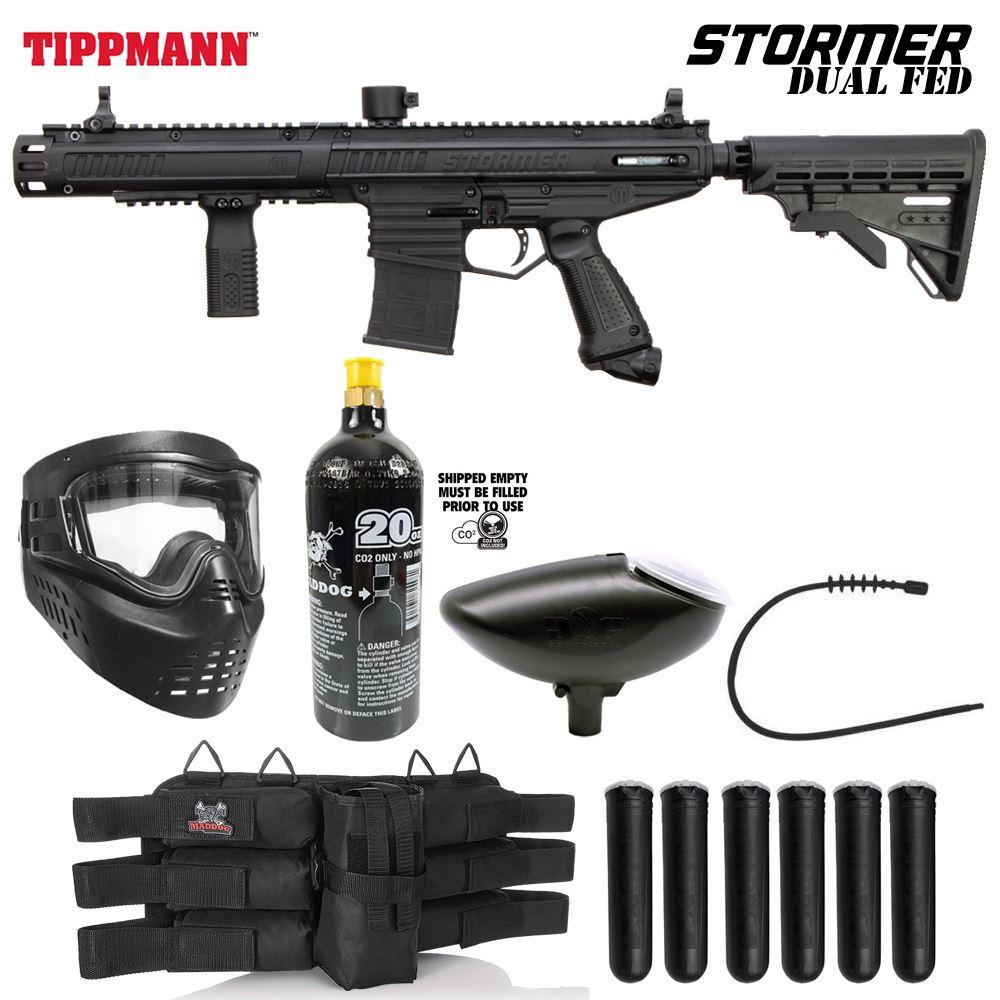 Maddog Tippmann Stormer Elite Dual Fed Bronze Paintball Gun Marker Starter Pack