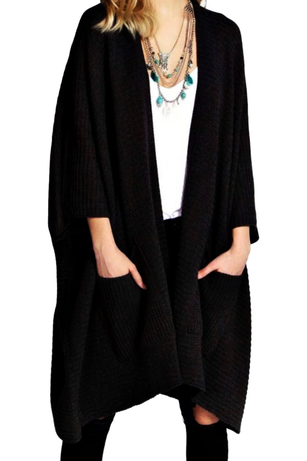 New Ladies Ribbed Pocket Knitted Oversized Baggy Long Jumper Cape Cardigan T TOP
