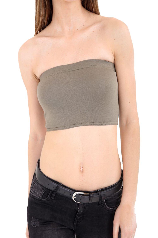 New Ladies Women Girls Boob Tube Bandeau Crop Vest Top Bra Summer Holidays Shirt