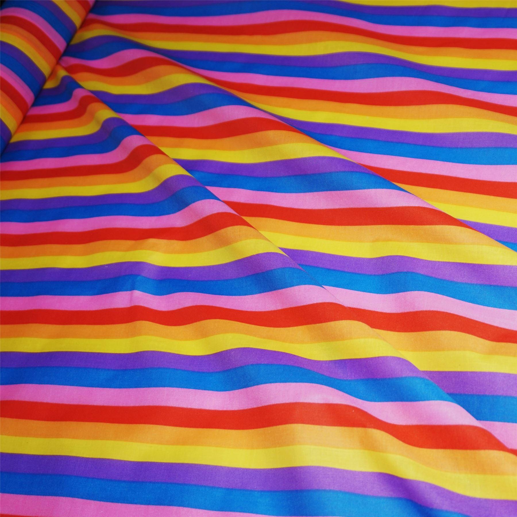 Carnival Rainbow 15mm Stripe Polycotton Fabric - 2 Colourways (Per Metre)