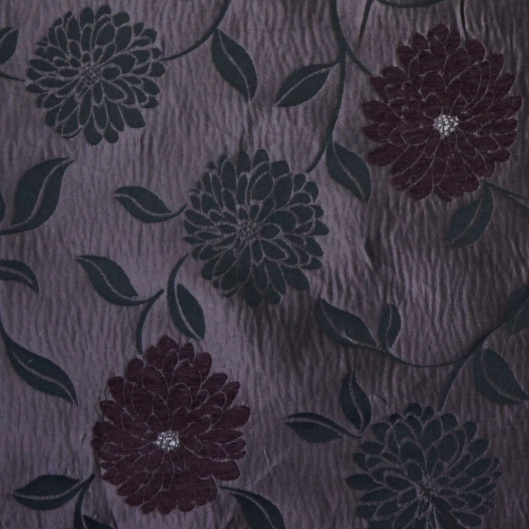 Jacquard Satin Curtain Fabric Madrid Flower Design