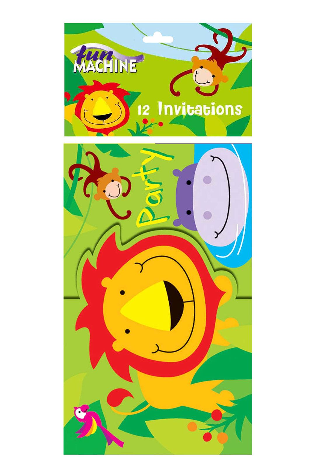 Jungle Party Invites Pack Of 12 Animal