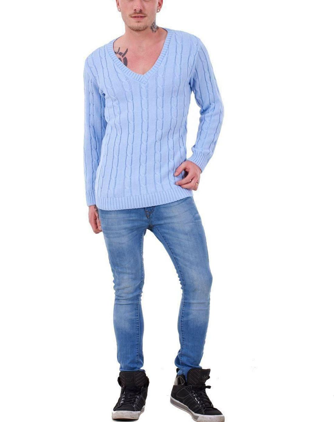 Mens-Long-Sleeve-Chunky-Cable-Knitted-Jumper-Adults-V-Neck-Casual-Sweater-Top