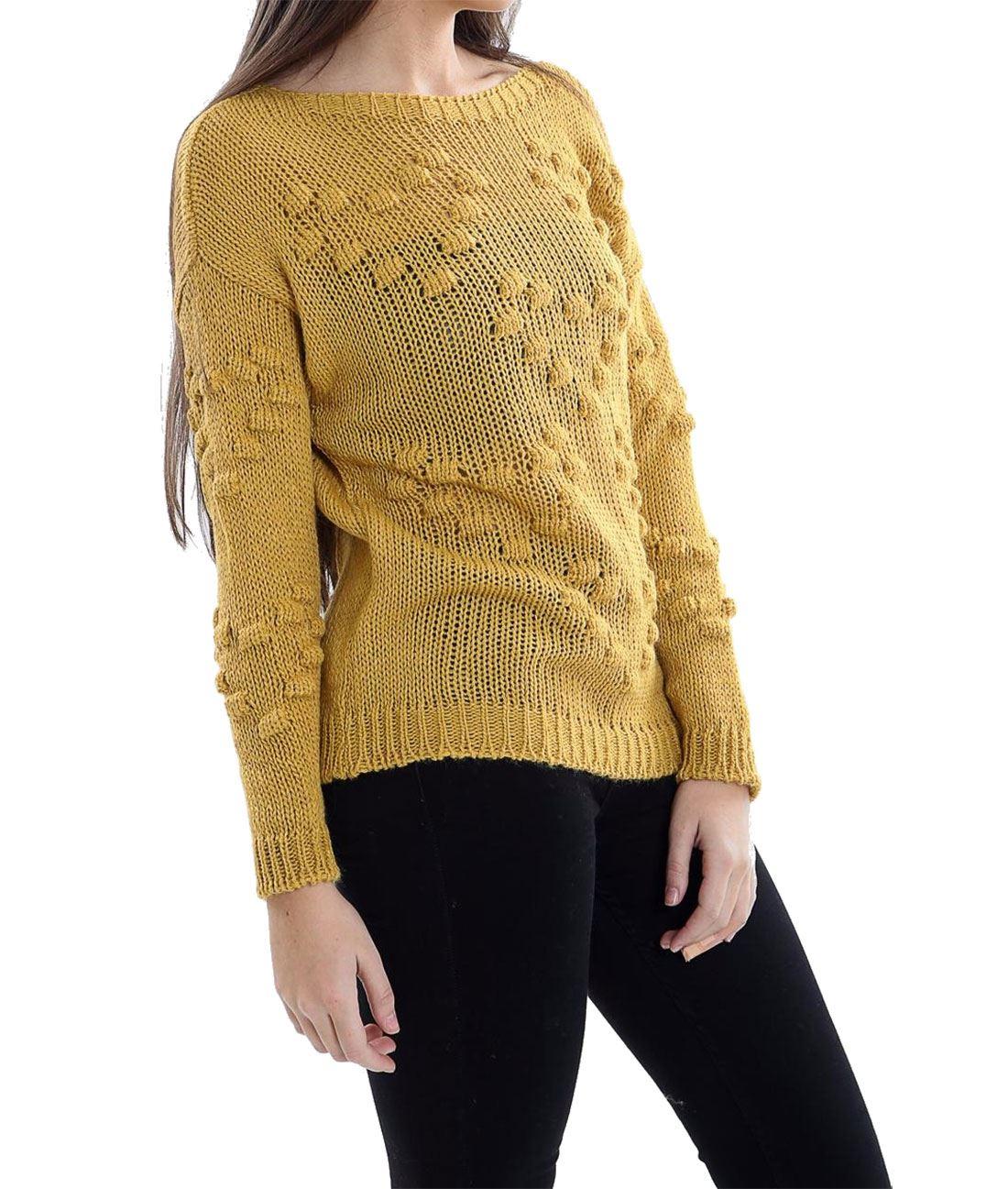 748a542169d Ladies Fancy Bobble Pattern Knitted Heart Jumper Womens Winter Party ...