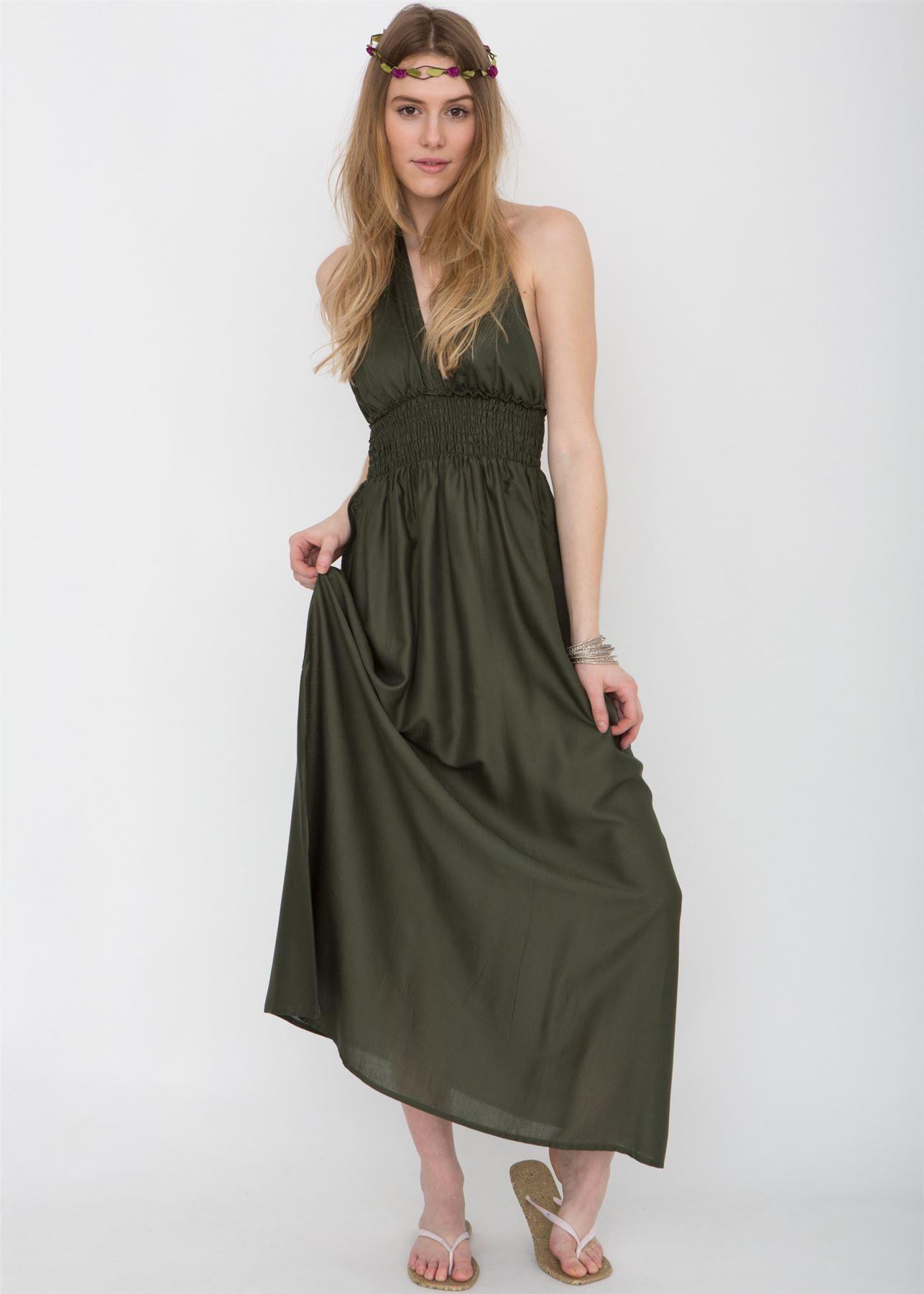 tiefer Rücken Nackenband Maxi Kleid khaki | eBay