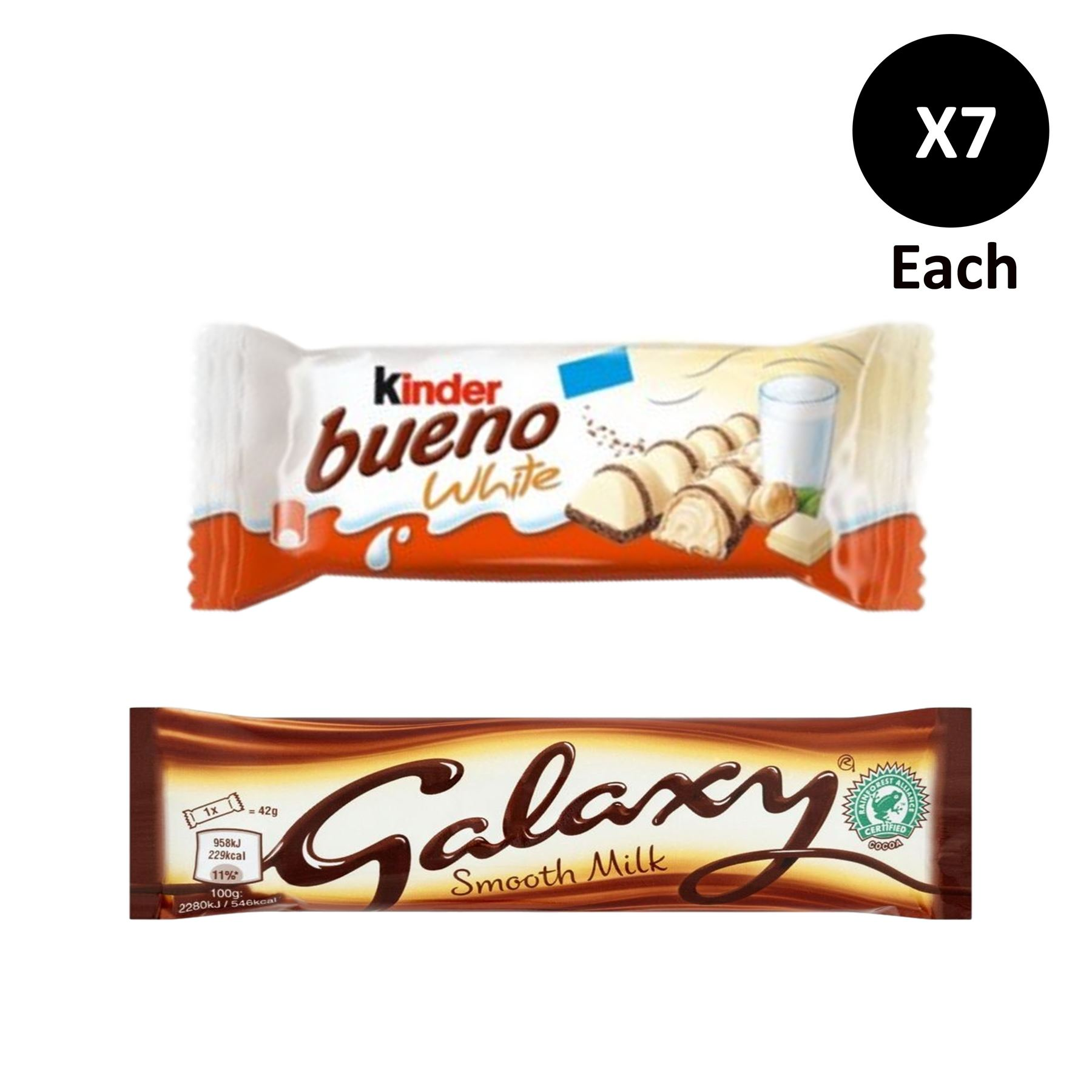 Details About Kinder Bueno White Chocolate Bar 7 X39g Galaxy Bars 7 X42g