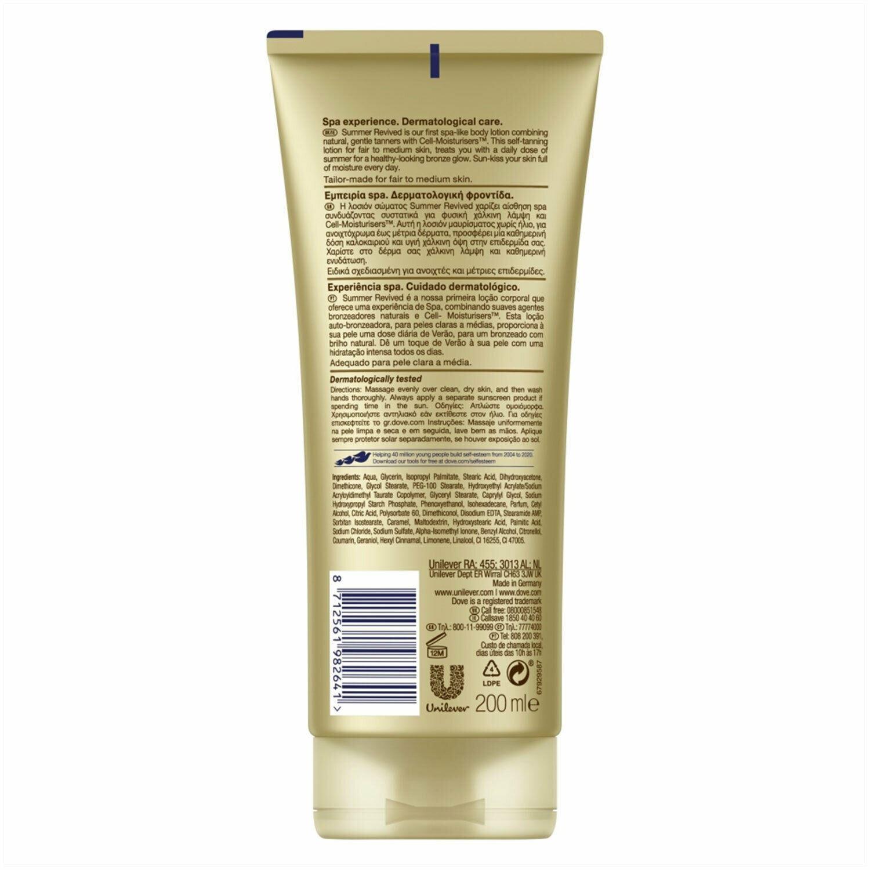 thumbnail 14 - 3 Pack Dove DermaSpa Summer Revived Gradual Self Tan Body Lotion, 200ml