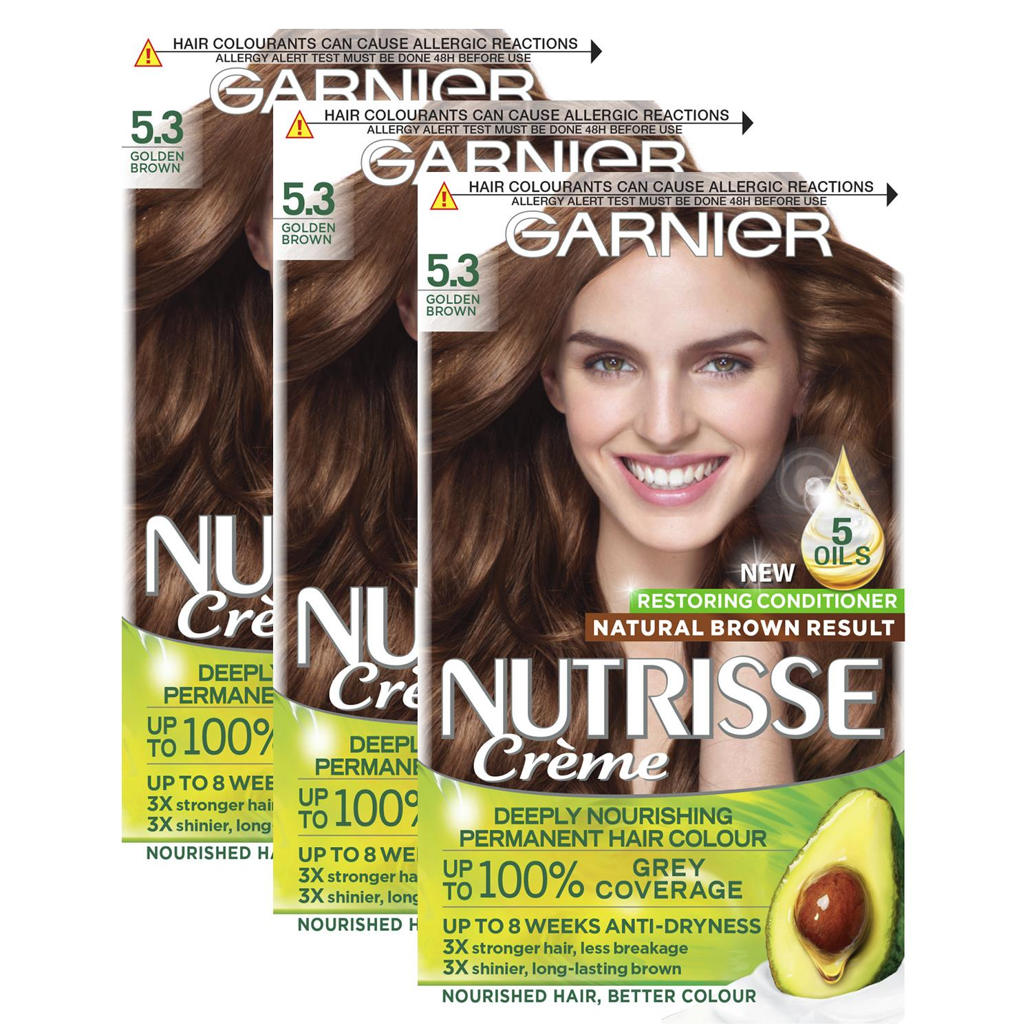 thumbnail 128 - 3 Pack Garnier Nutrisse Permanent Hair Dye With Different Shades