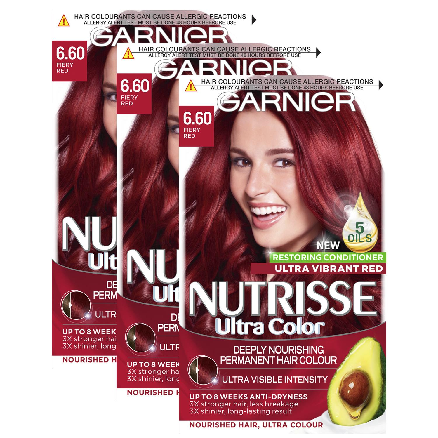 thumbnail 206 - 3 Pack Garnier Nutrisse Permanent Hair Dye With Different Shades