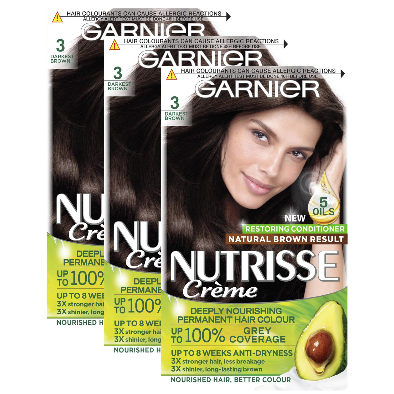 thumbnail 31 - 3 Pack Garnier Nutrisse Permanent Hair Dye With Different Shades