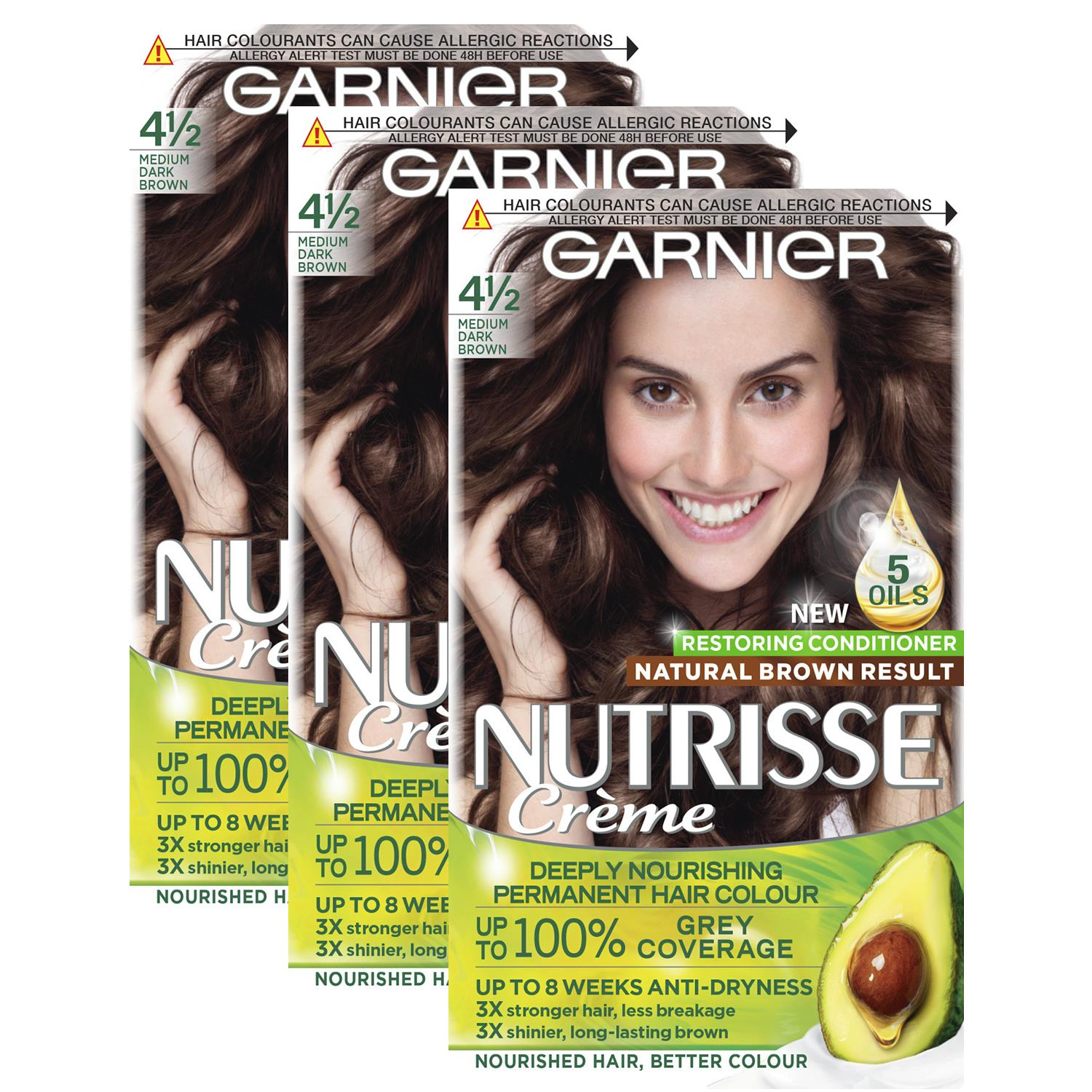 thumbnail 63 - 3 Pack Garnier Nutrisse Permanent Hair Dye With Different Shades
