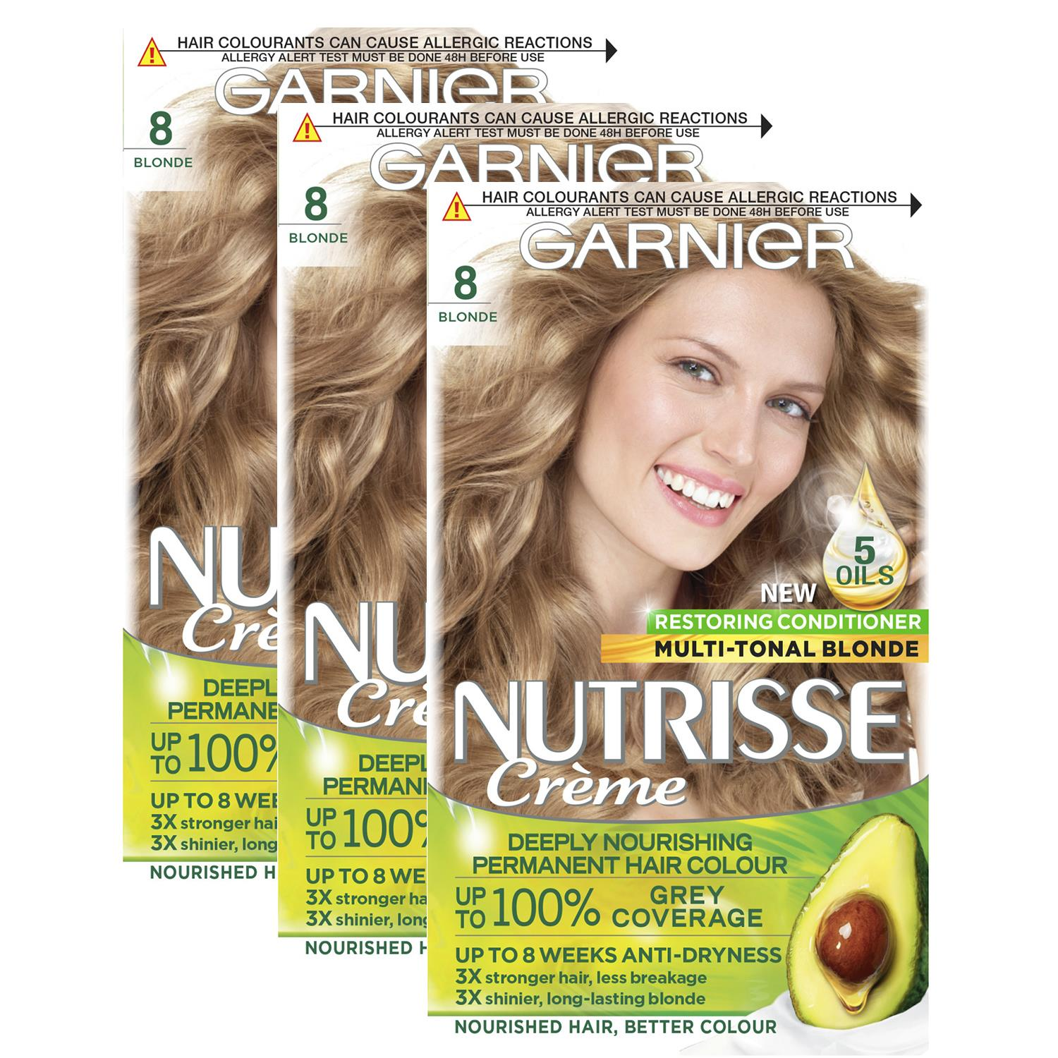 thumbnail 253 - 3 Pack Garnier Nutrisse Permanent Hair Dye With Different Shades