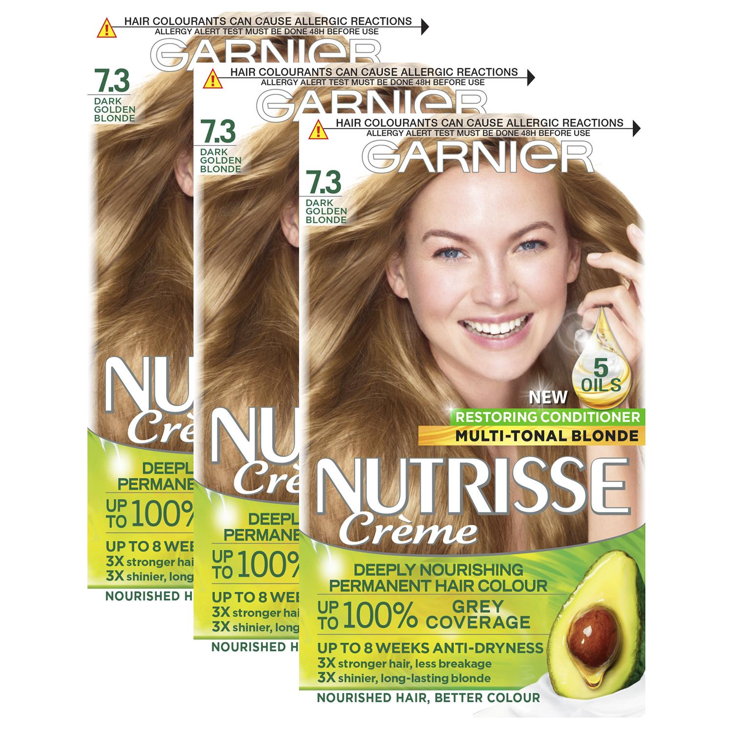 thumbnail 230 - 3 Pack Garnier Nutrisse Permanent Hair Dye With Different Shades
